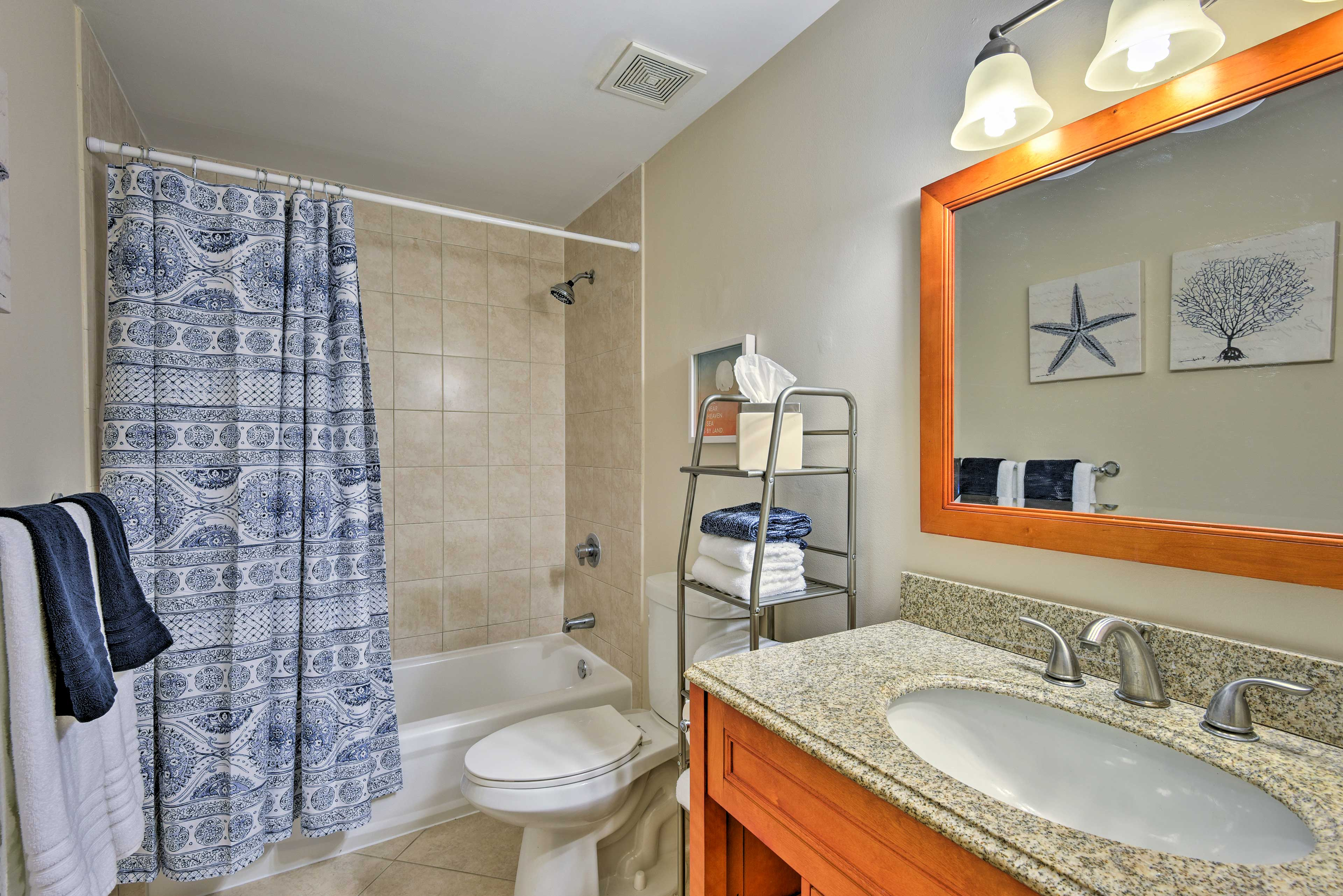 Rinse off in the shower/tub combo before you start your day.