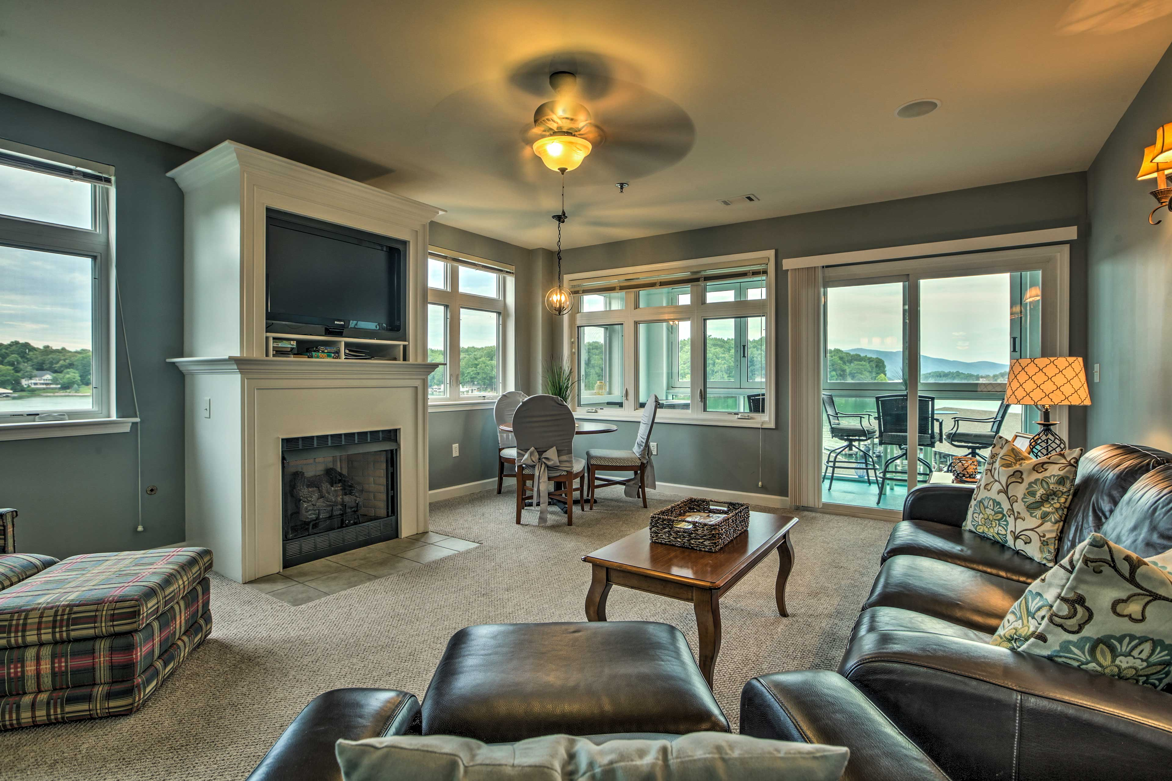 Cozy up next to the gas fireplace while you watch shows on the flat-screen TV.