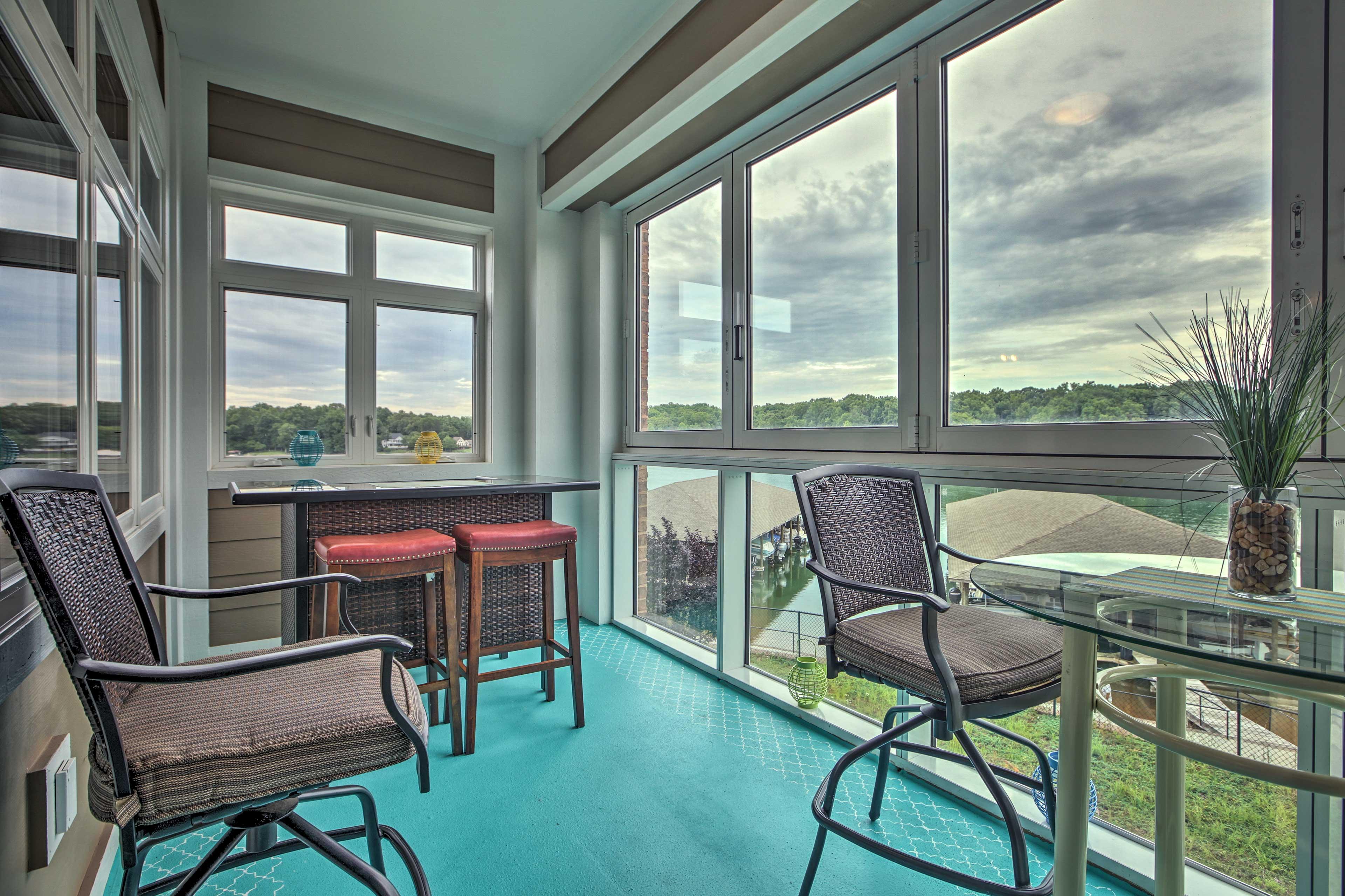 Watch the sun rise while you sip your coffee in on the enclosed glass balcony.