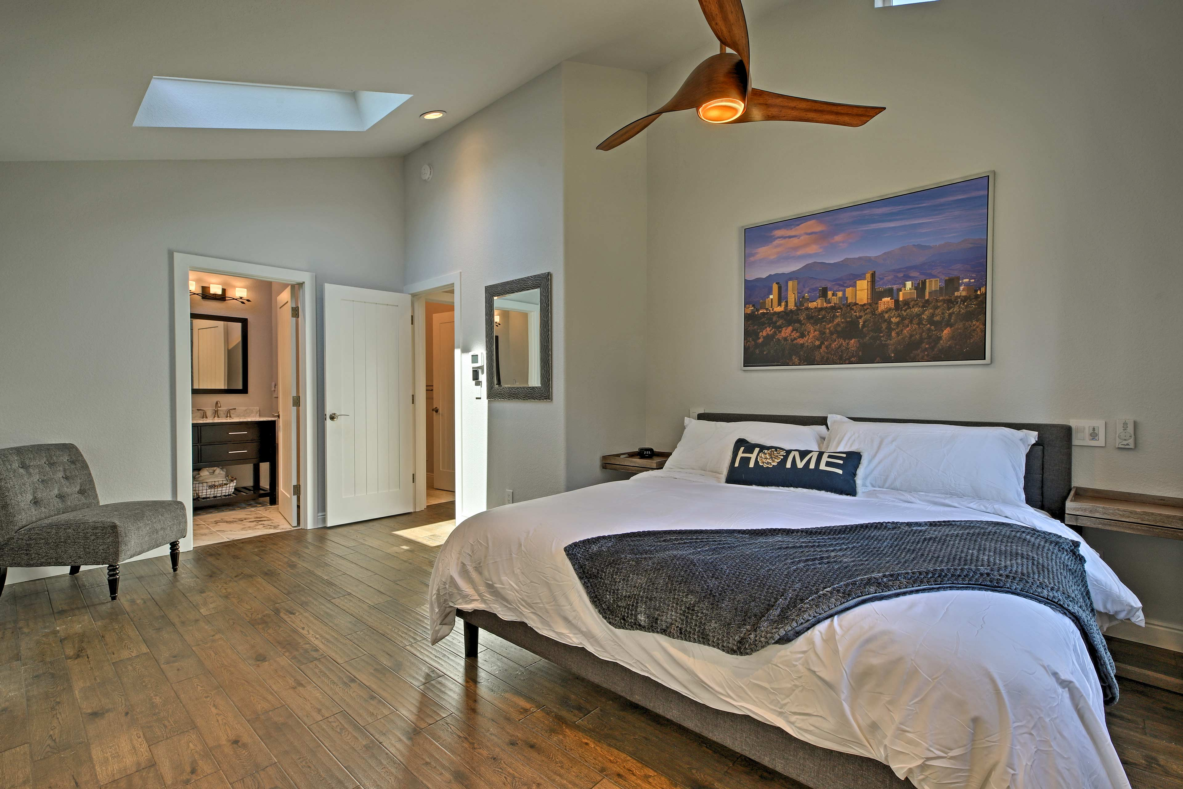 Let the ceiling fan usher you to sleep.