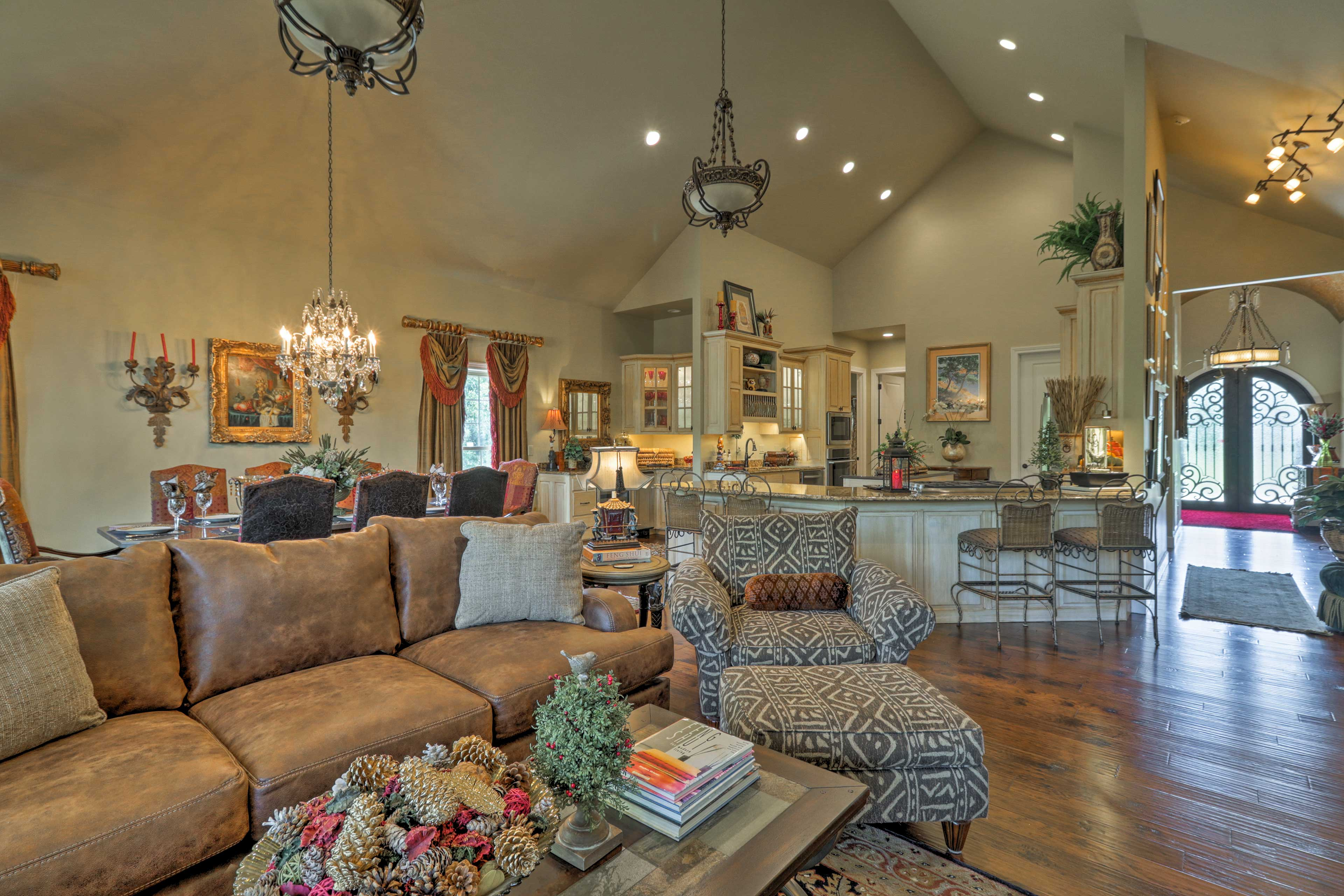 Sink into the oversized furnishings in the living room and unwind.