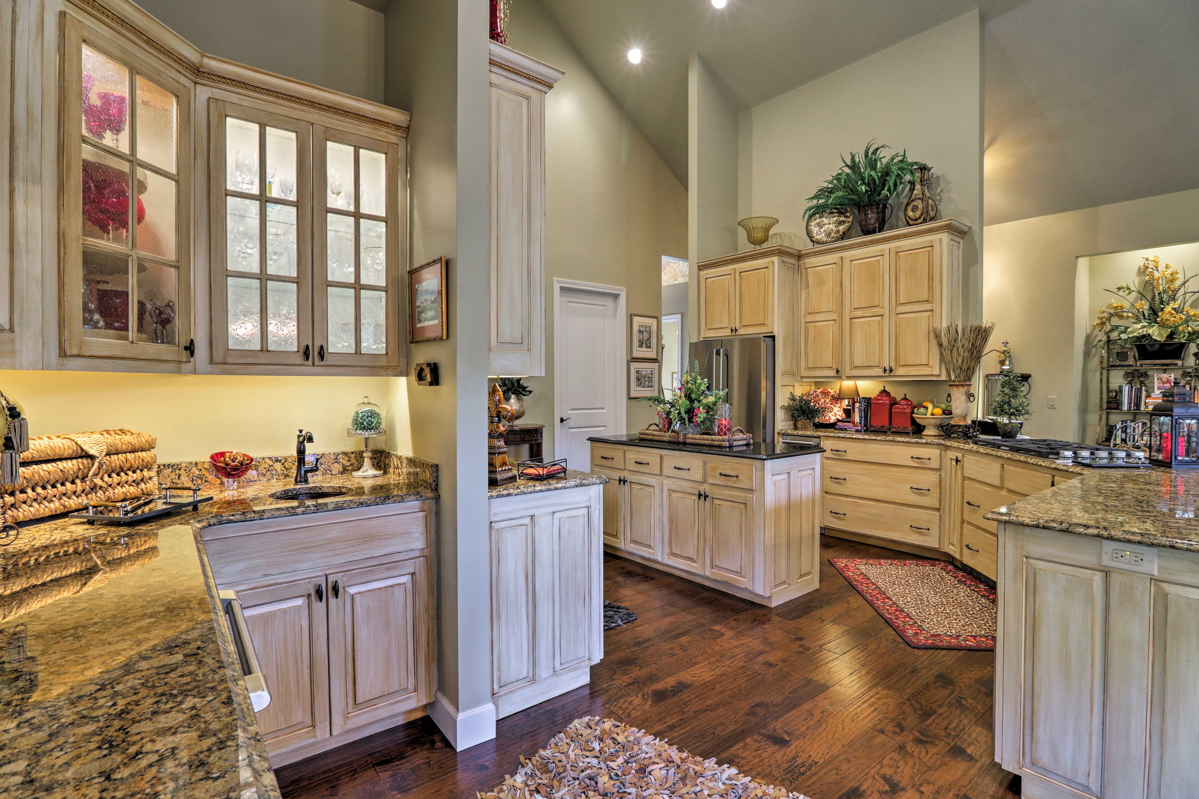The fully equipped gourmet kitchen is sure to impress the chef of the group!