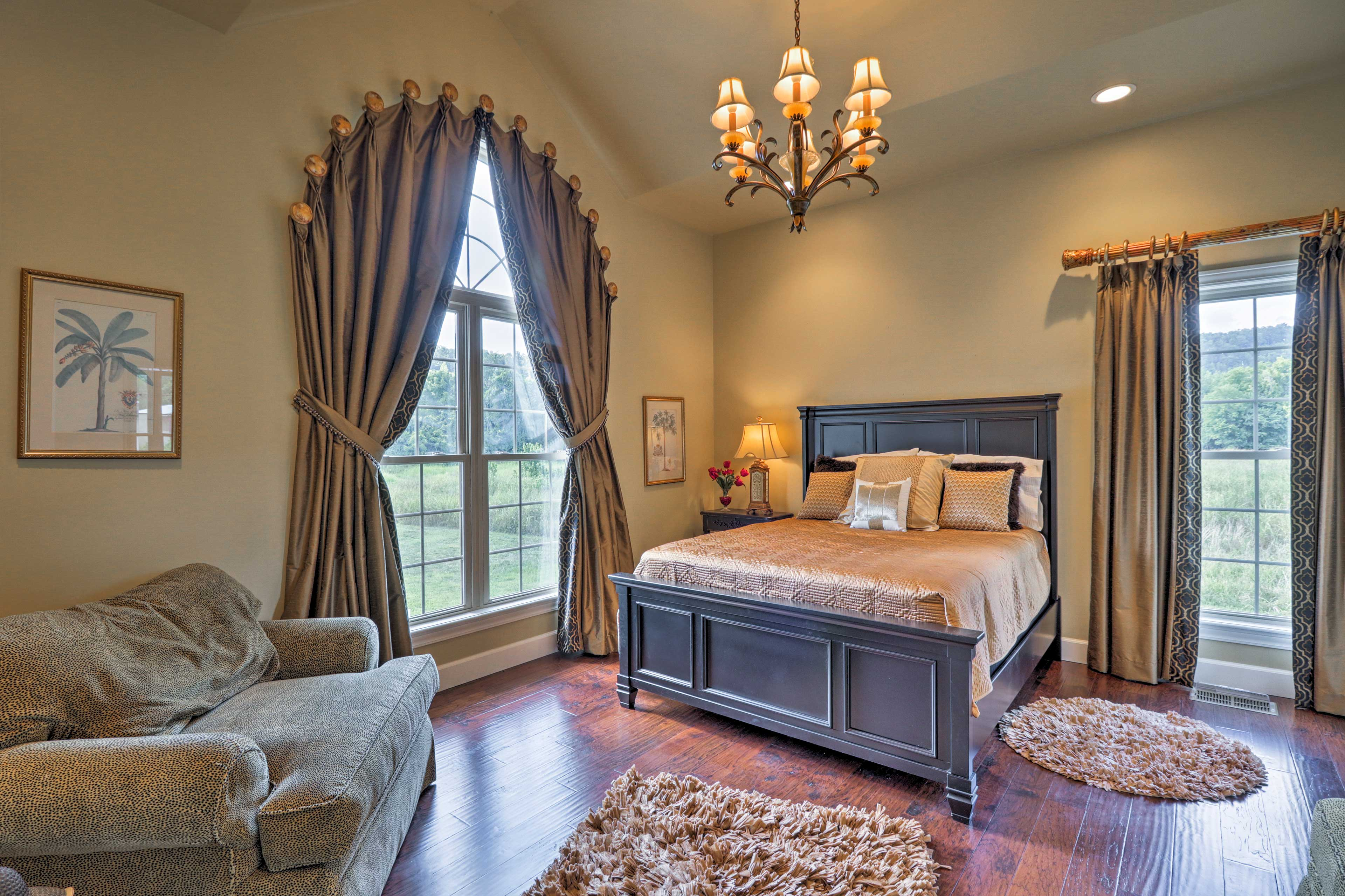Climb under the covers of the queen bed in this room.