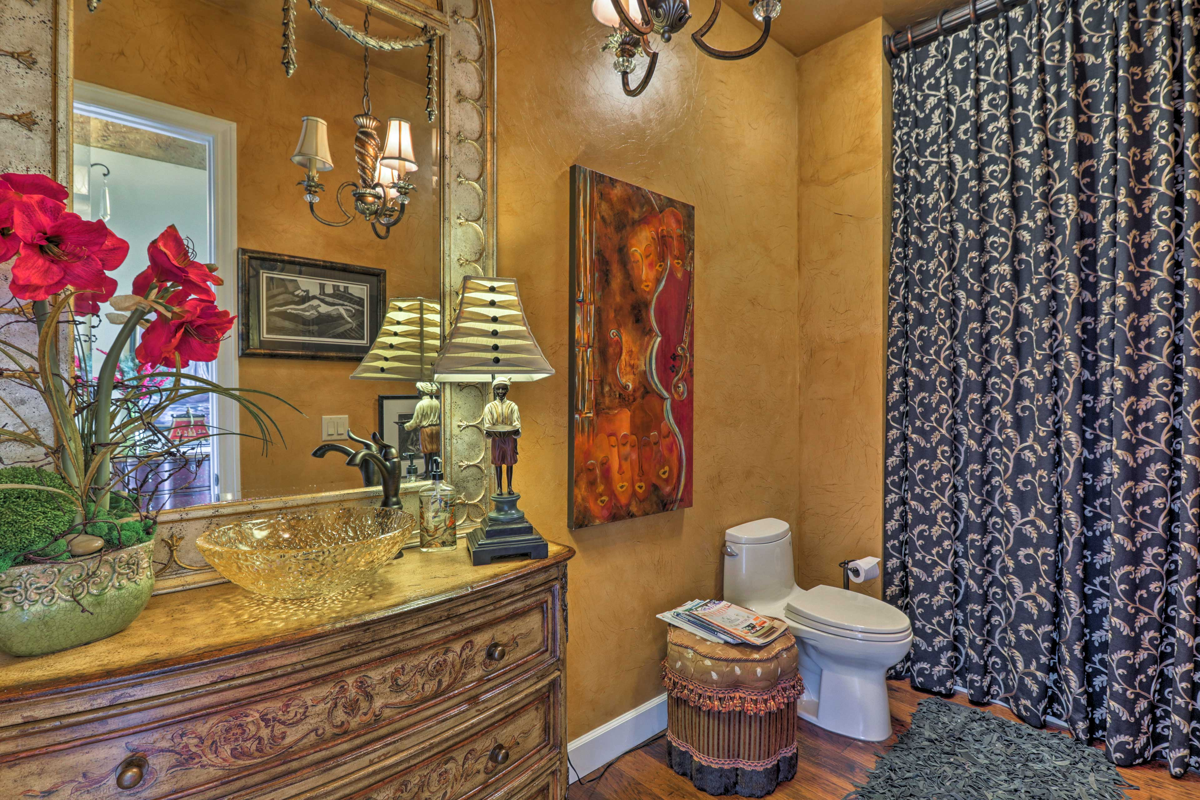 The final bathroom is exquisite and offers a walk-in shower.