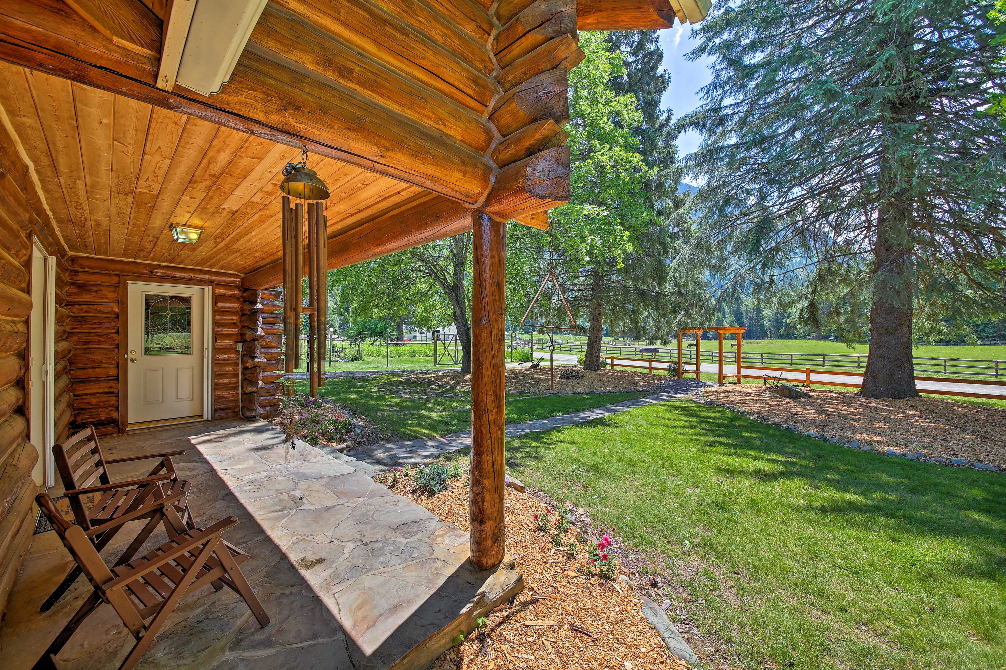 Grab a seat to overlook the surroundings from the front porch.