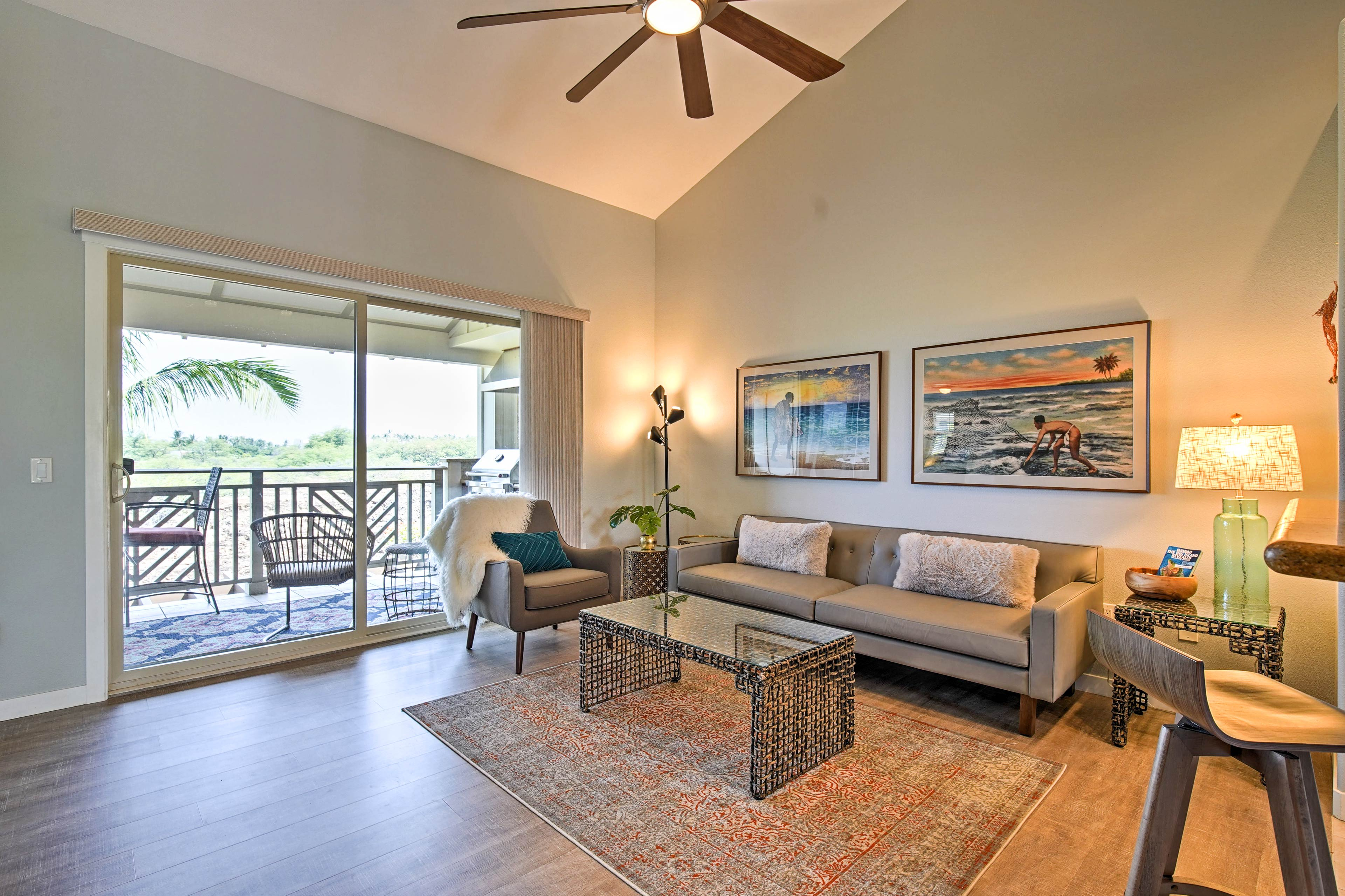 Unwind on the new furnishings in the living room featuring vaulted ceilings.