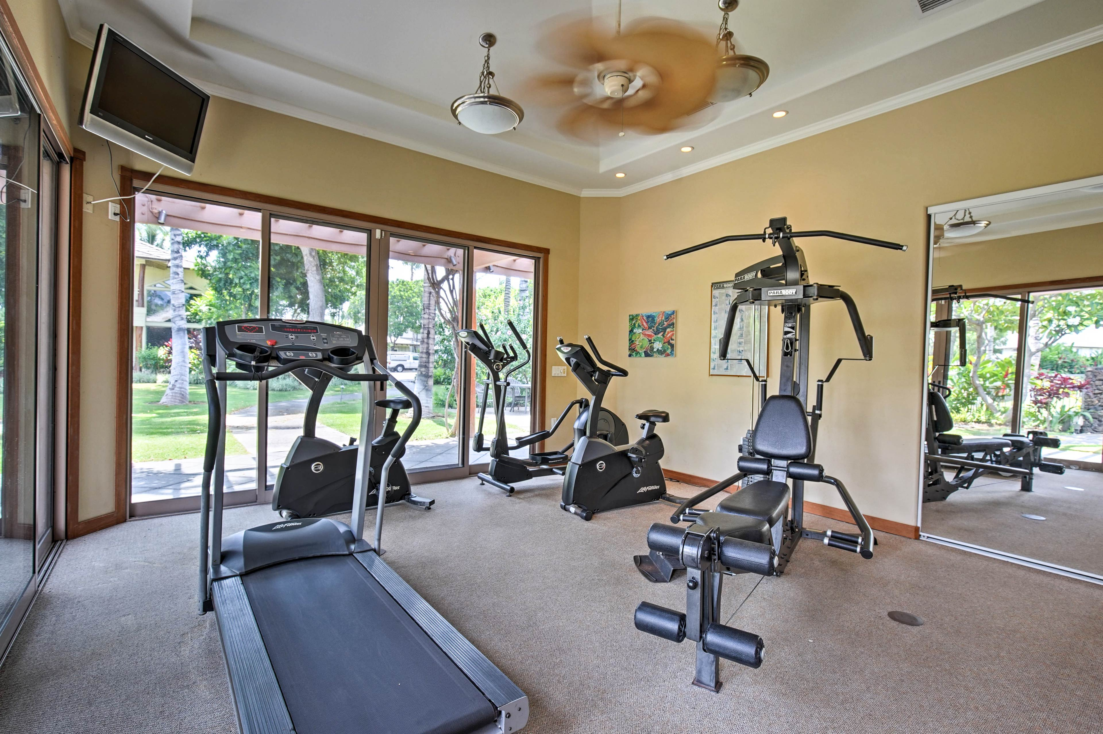 Keep up your workout routine in the community fitness center.