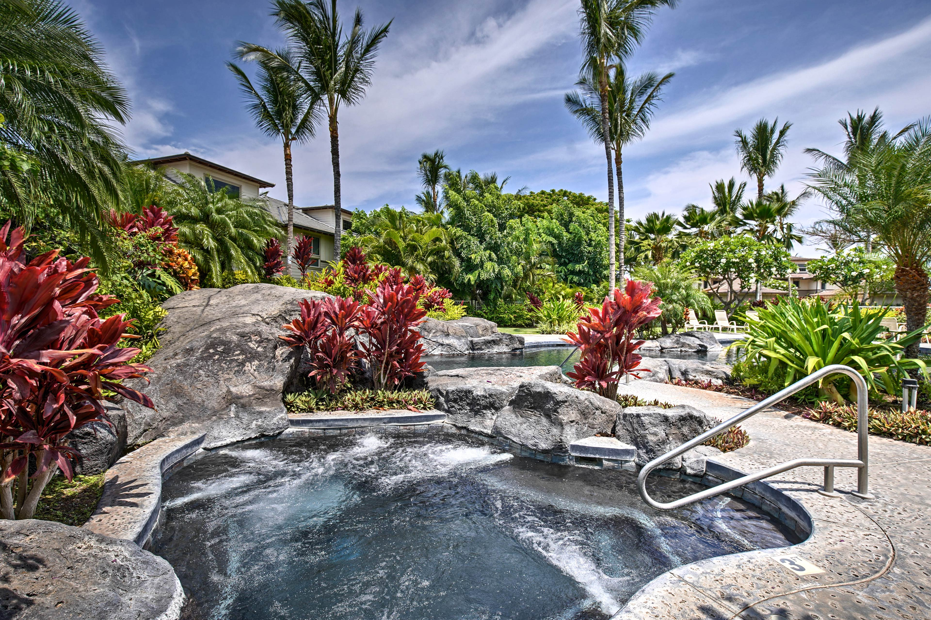 Cool off with a dip in the resort-style pool or take a soak in the hot tub.