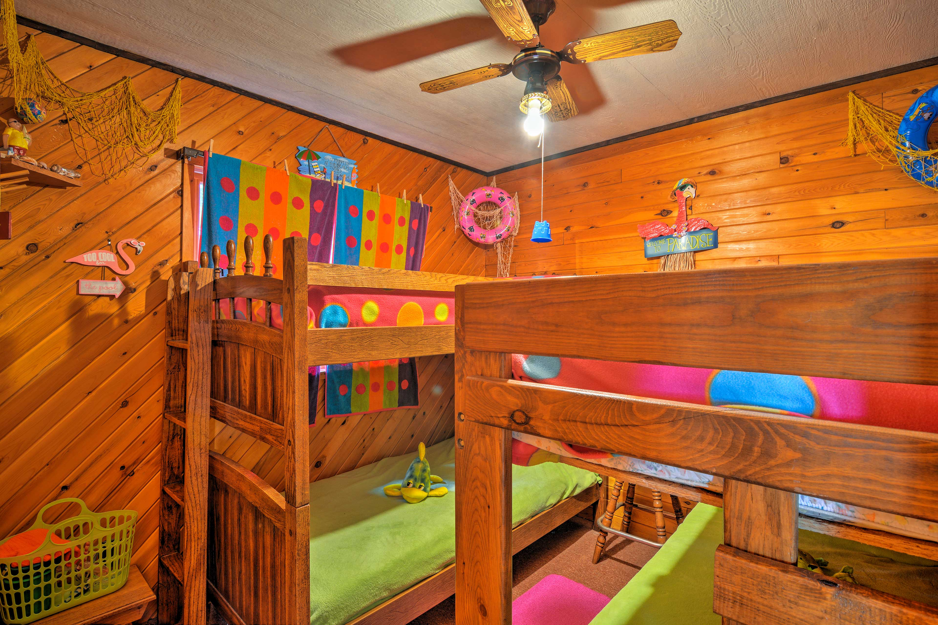 Vibrant decorations fill the second bedroom.