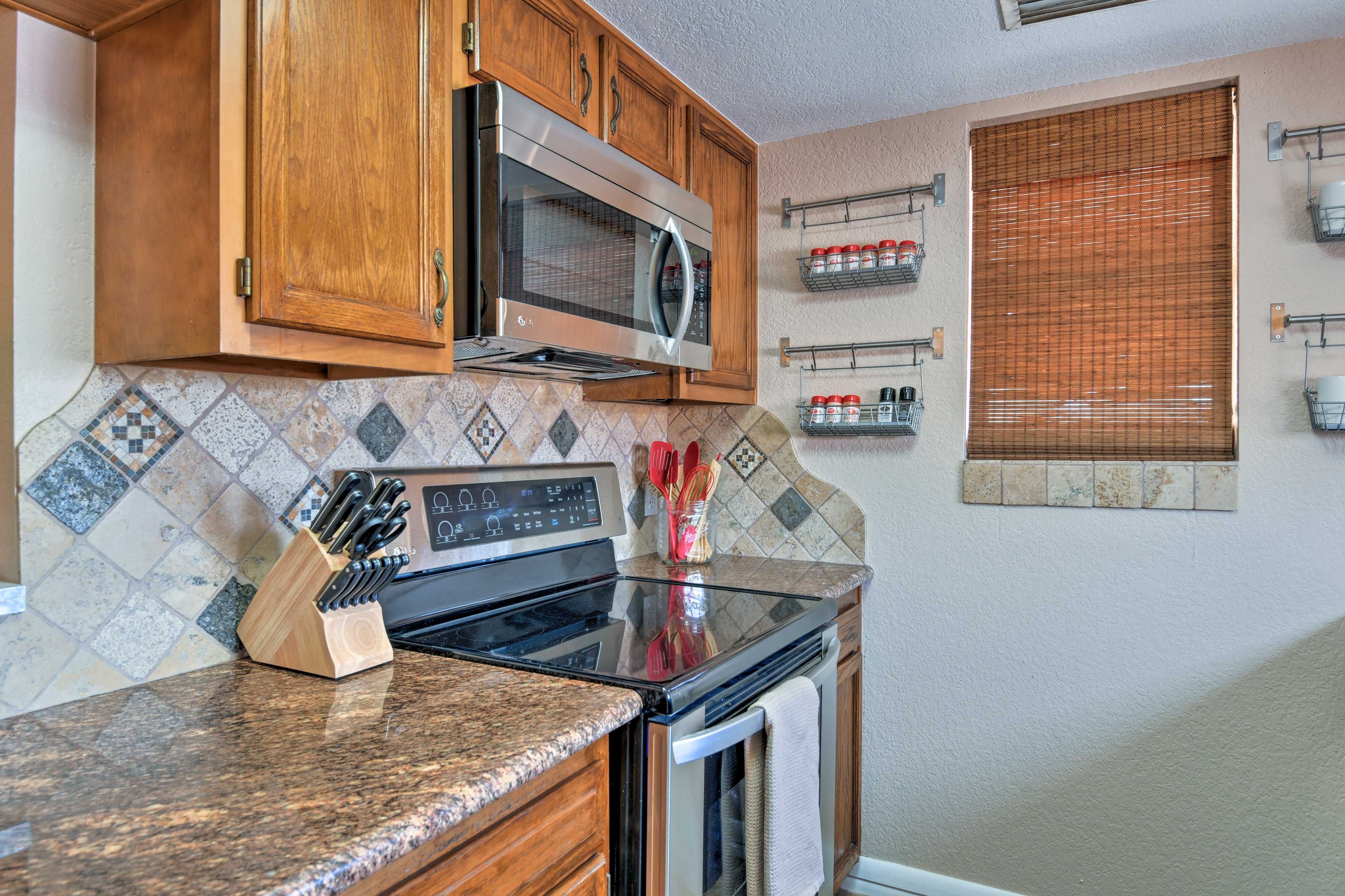 Utilize the stainless steel appliances and ample counter space.