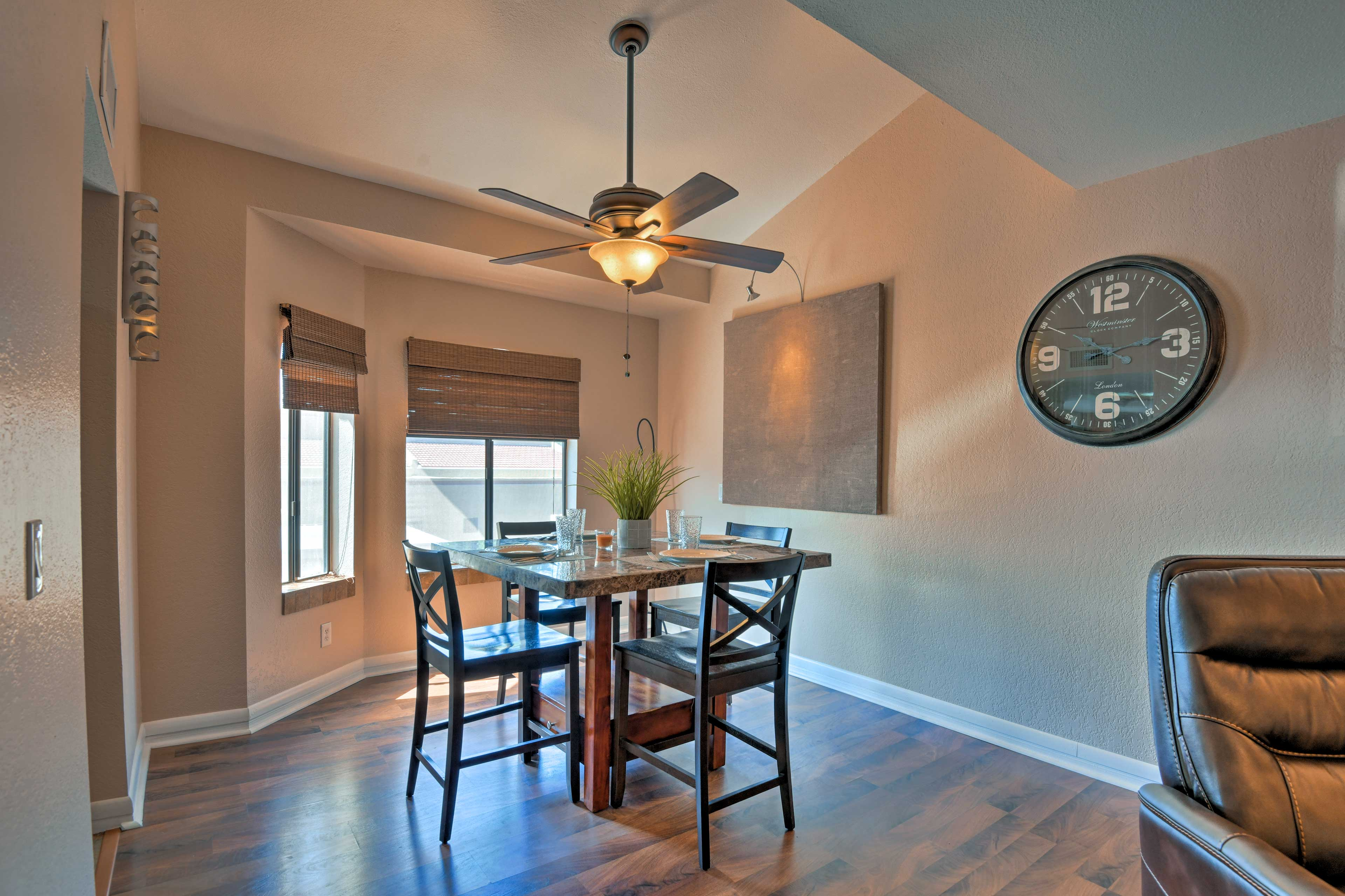 Discuss your plans for the day as you eat at the 4-person dining table.