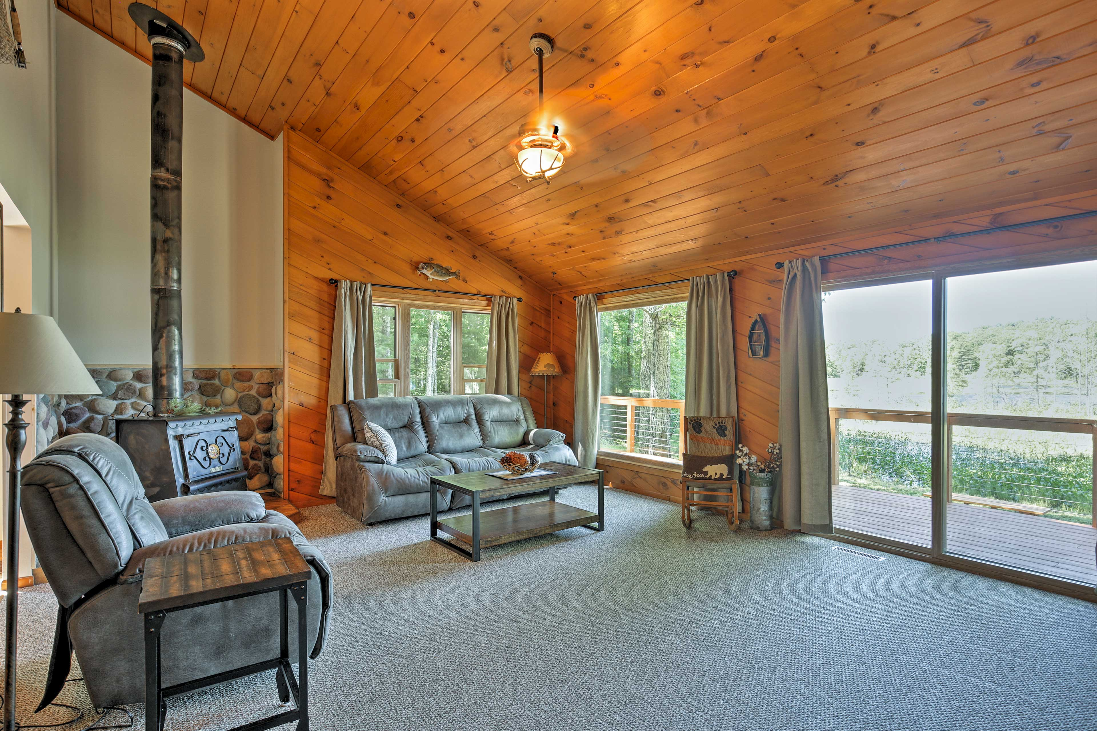 The well-appointed cabin comfortably sleeps all your friends & family.