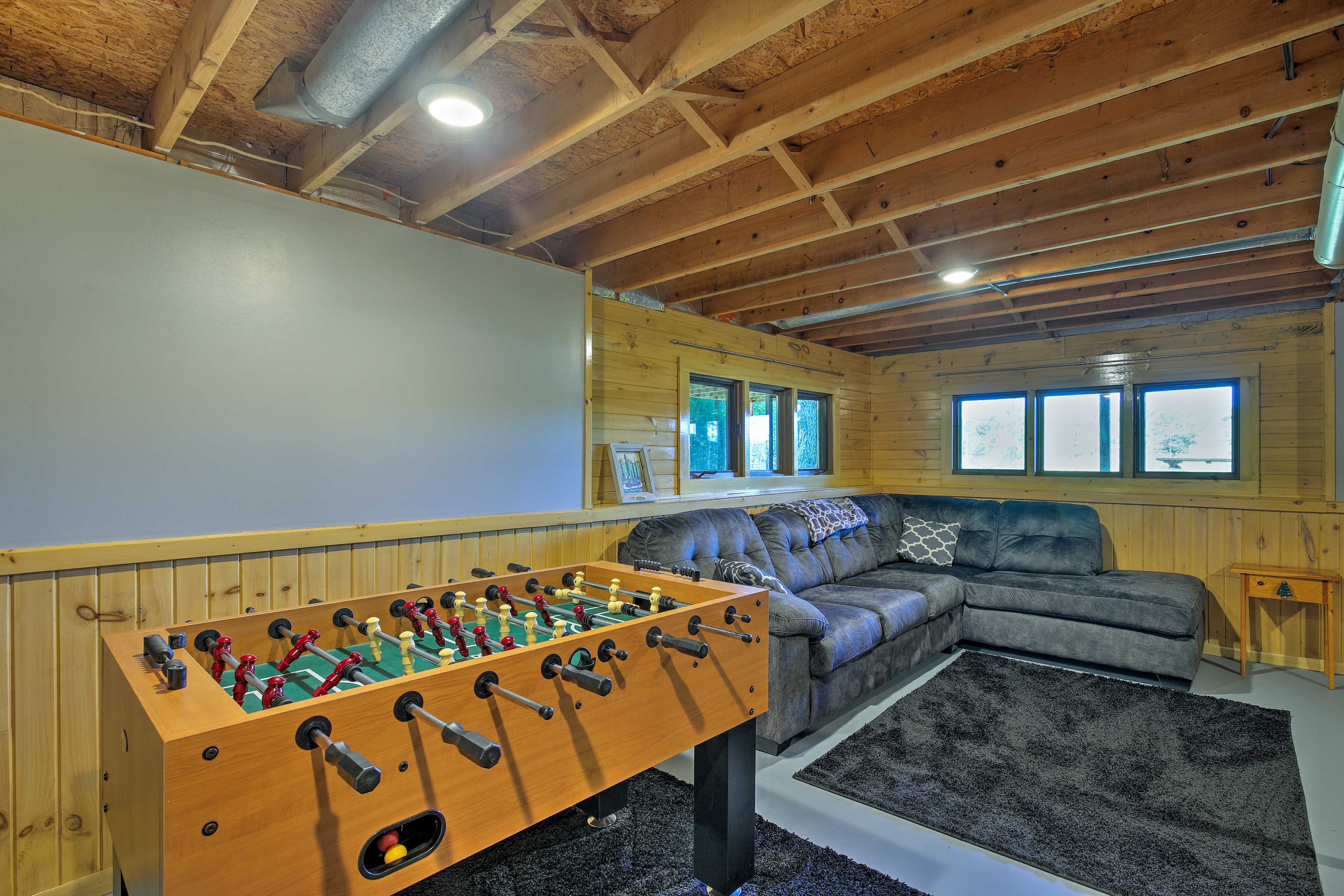 Your group will love the basement family room.