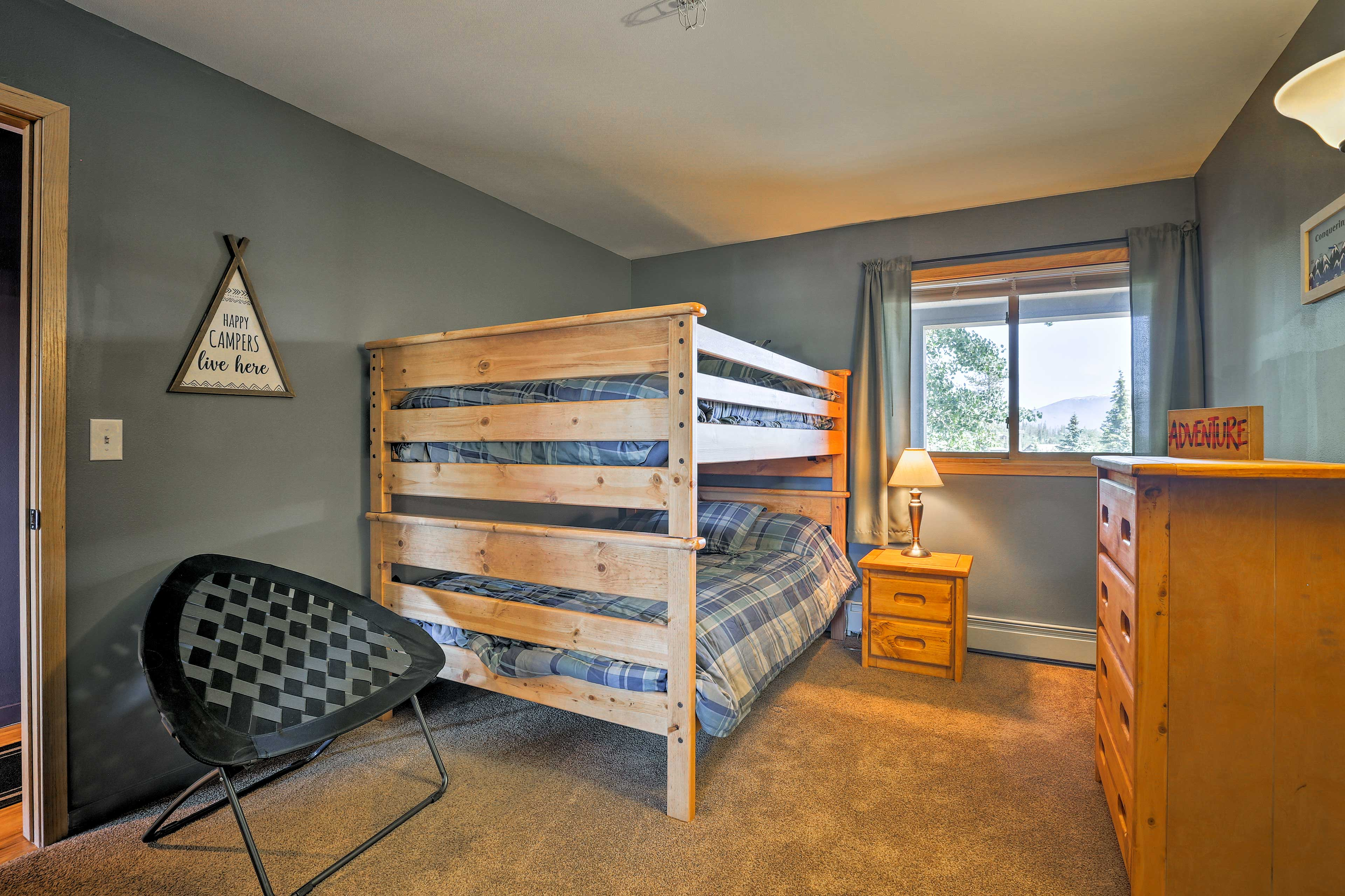 This room features a full-over-full bunk bed.