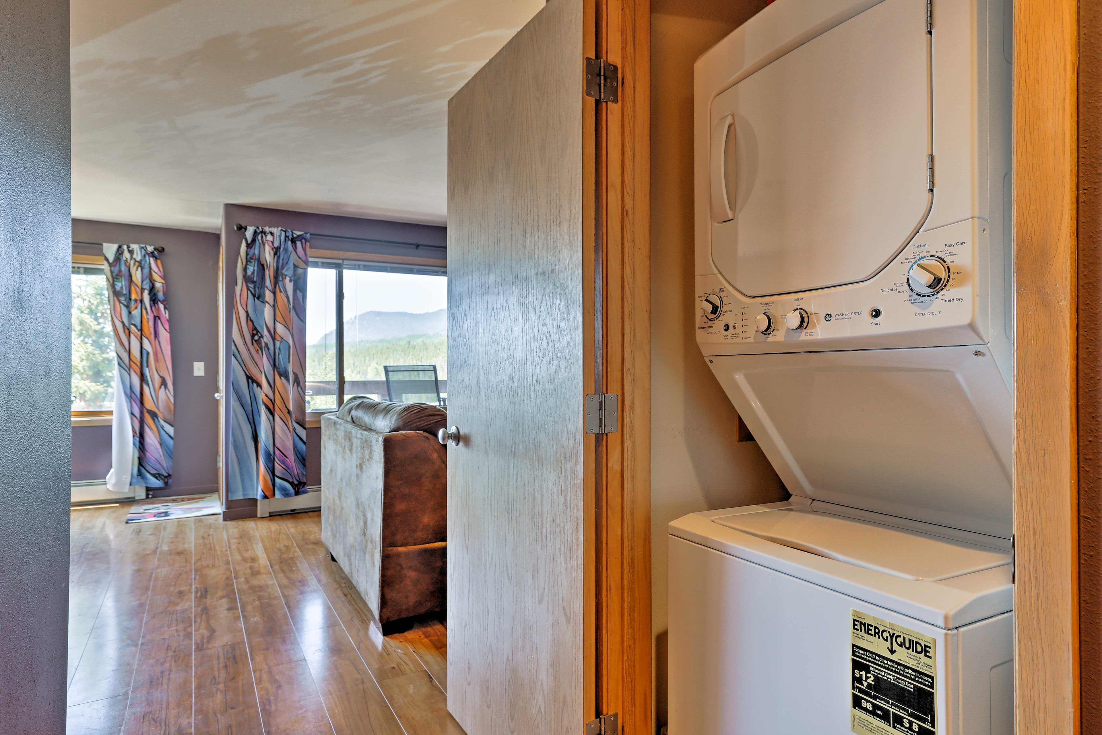 Keep your ski clothes fresh with a wash in the in-unit laundry machines.