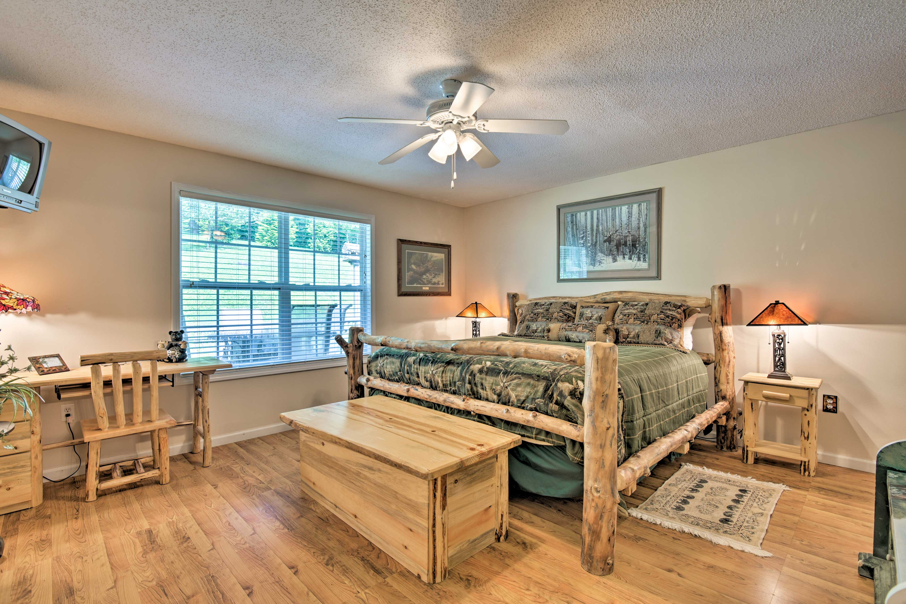 The master bedroom has a king bed and Smart TV.