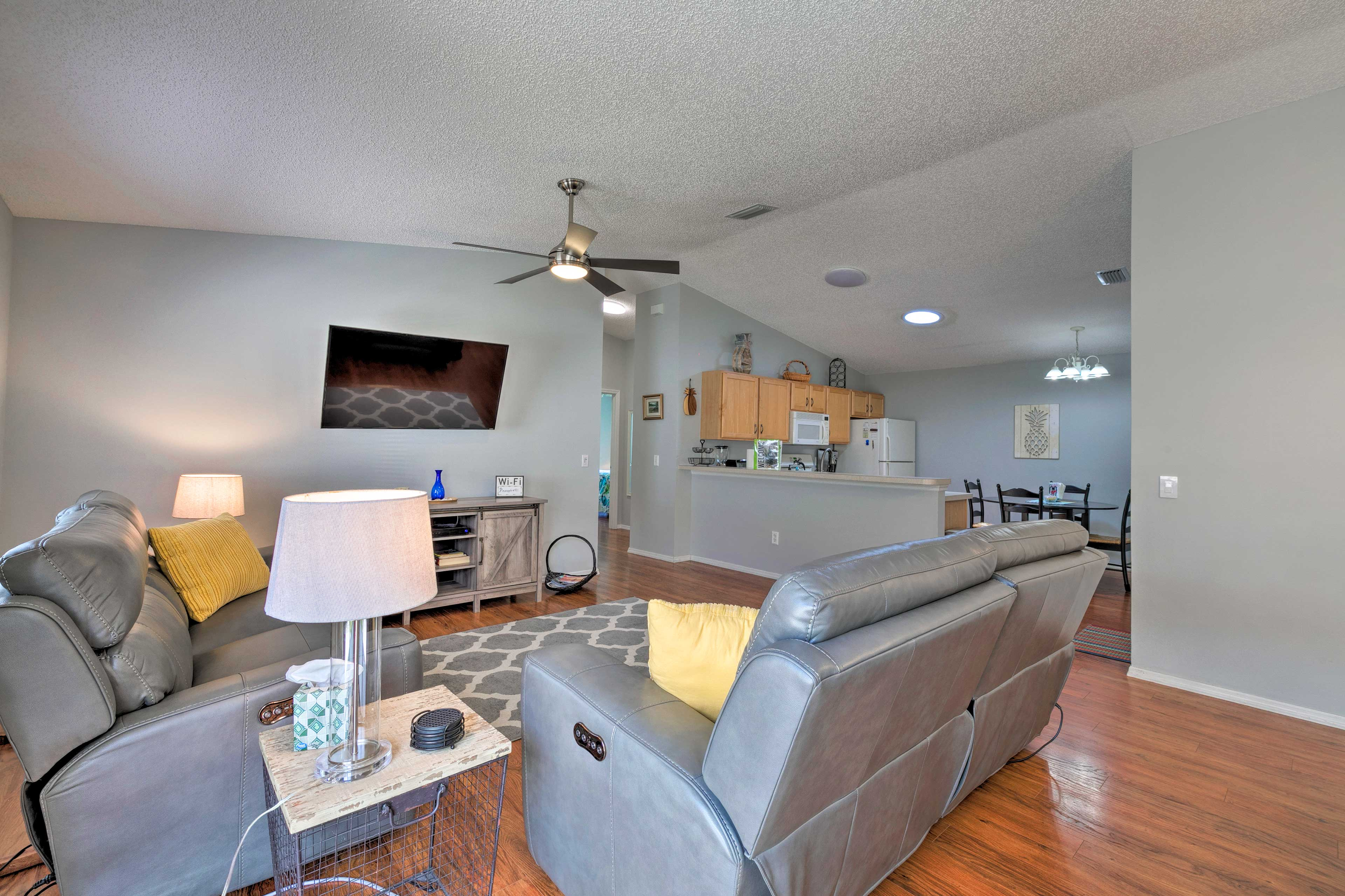 Lounge in style and watch your favorite shows on the flat-screen TV.