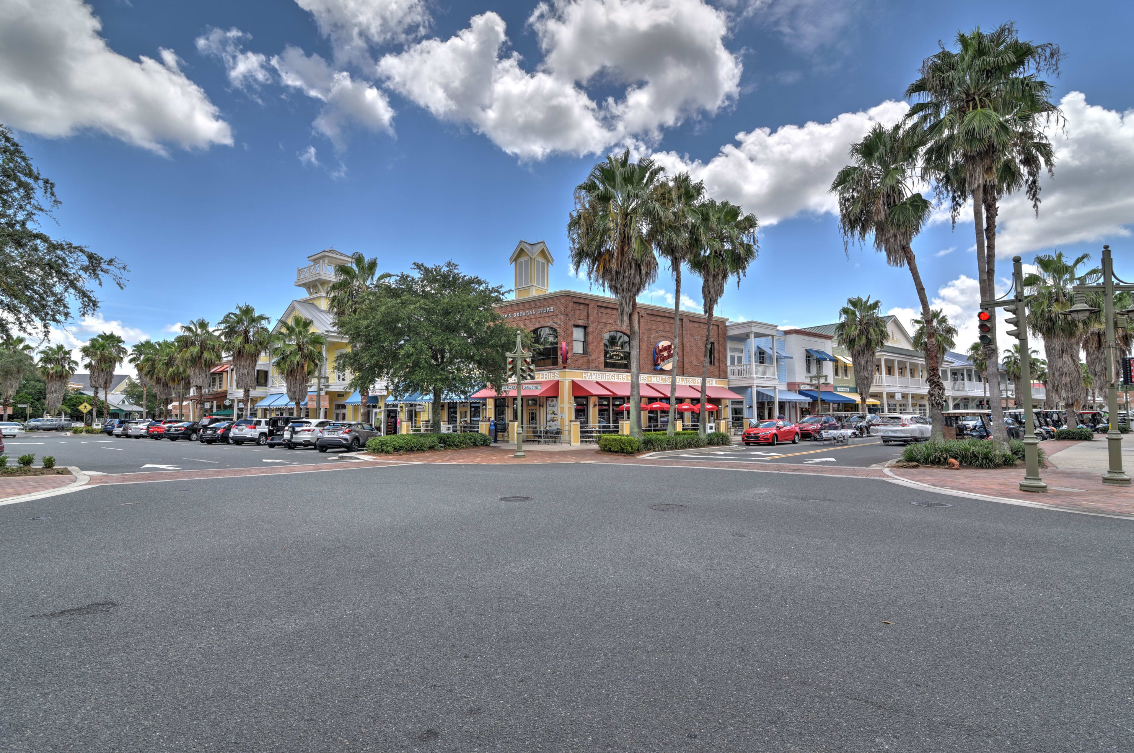 This shopping center can be reached with your golf cart!
