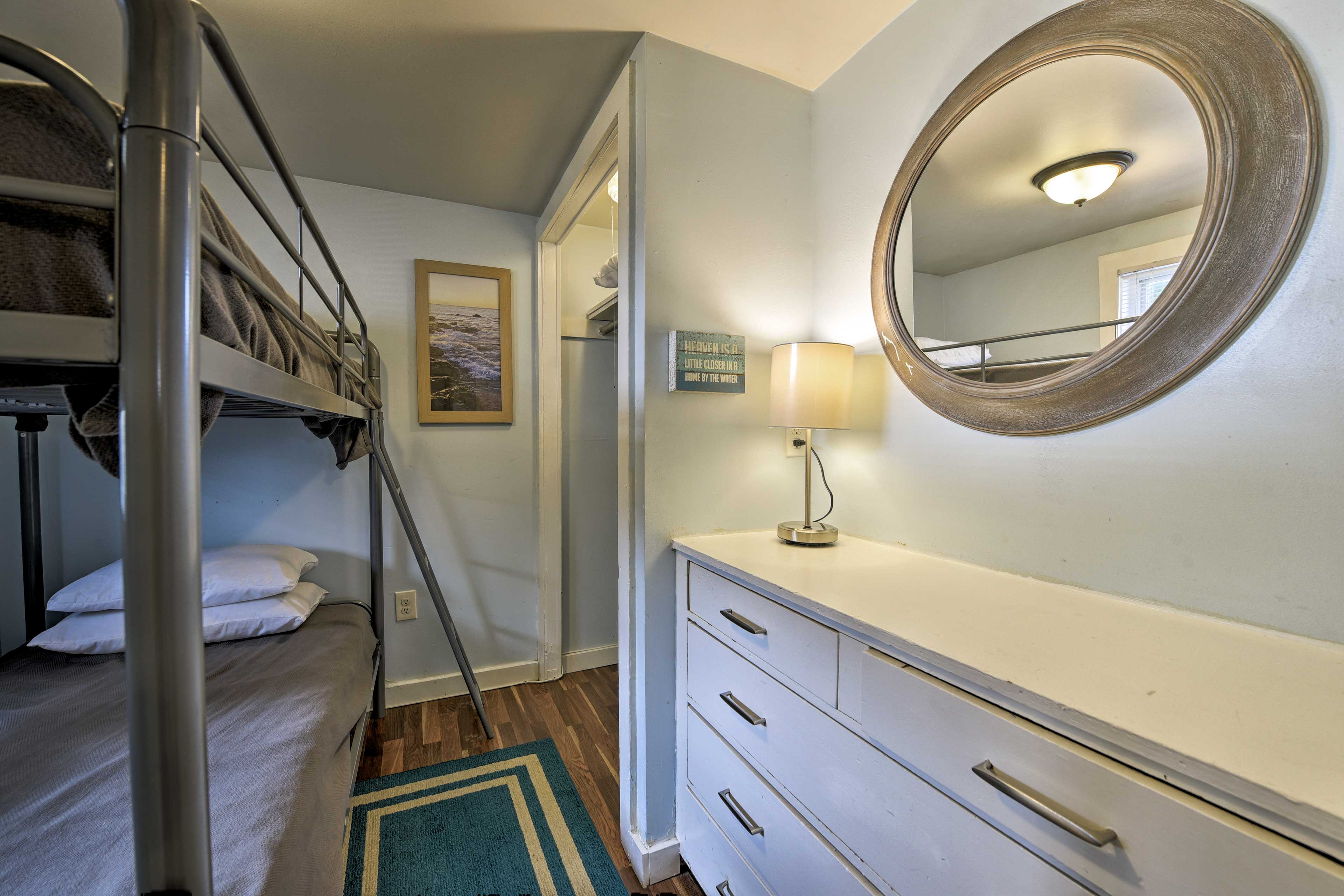 The twin-over-twin bunk bed comfortably sleeps 2.