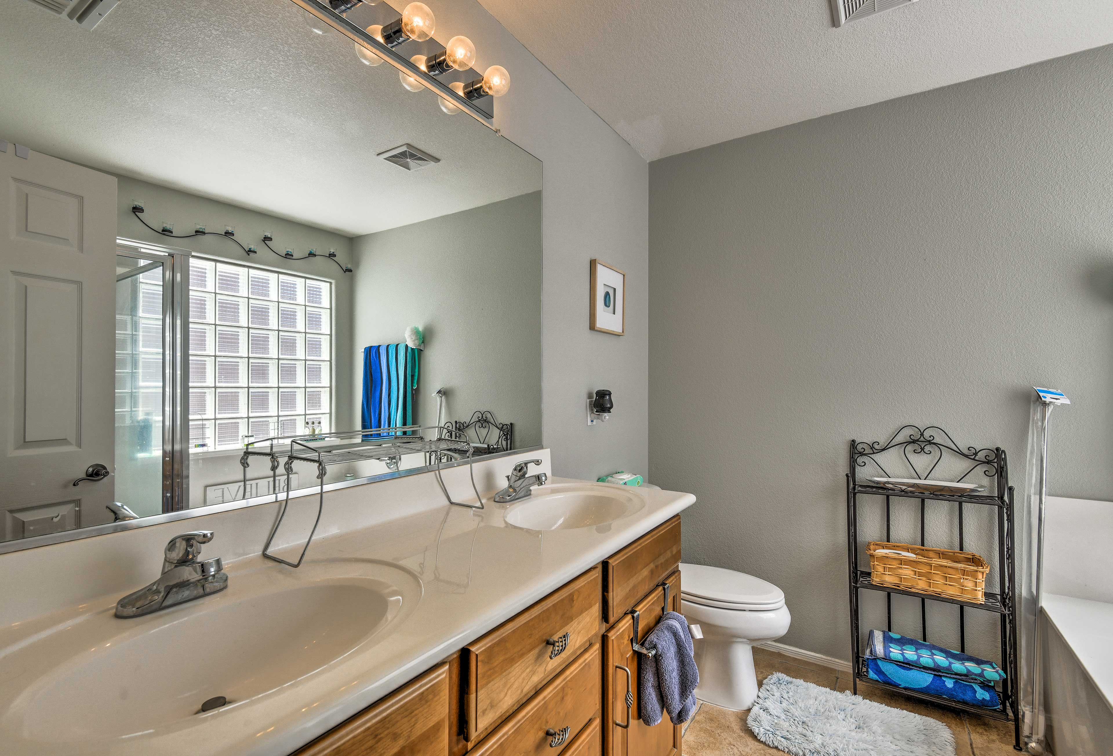 The master bedroom offers an en-suite bathroom with a double sink vanity!