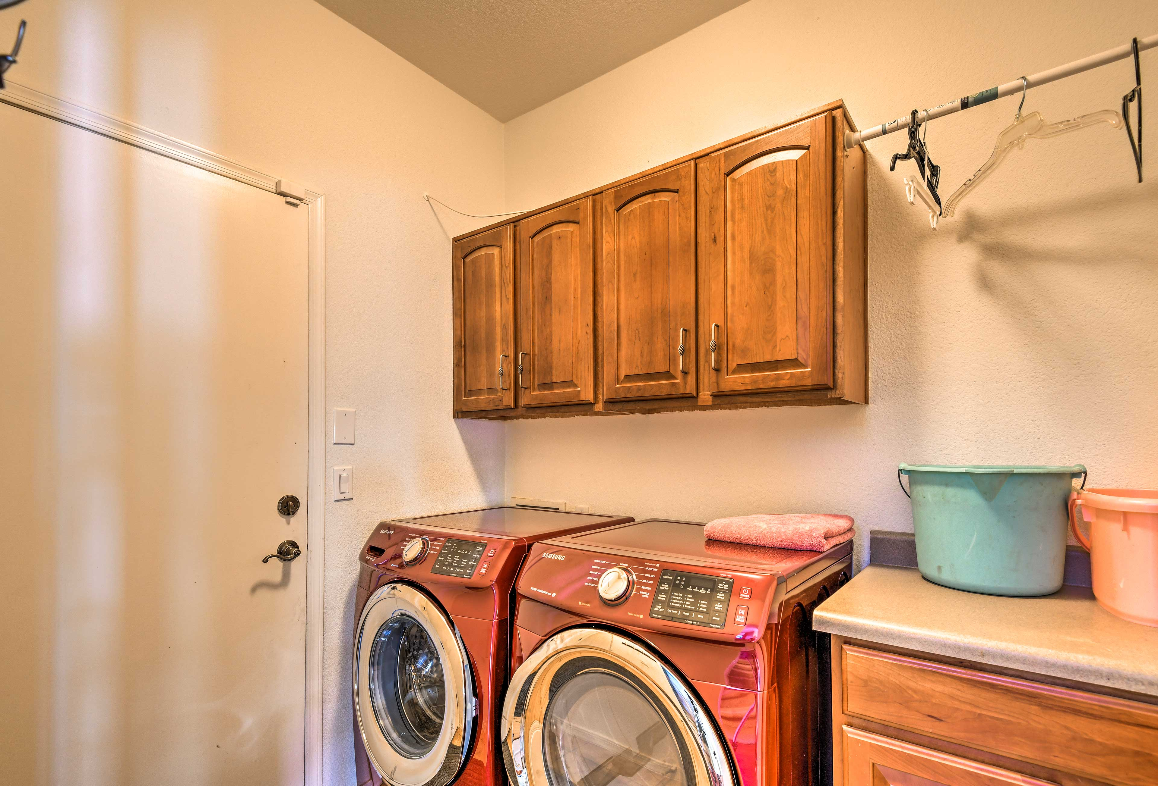 Keep your adventure gear fresh using the in-unit laundry machines.