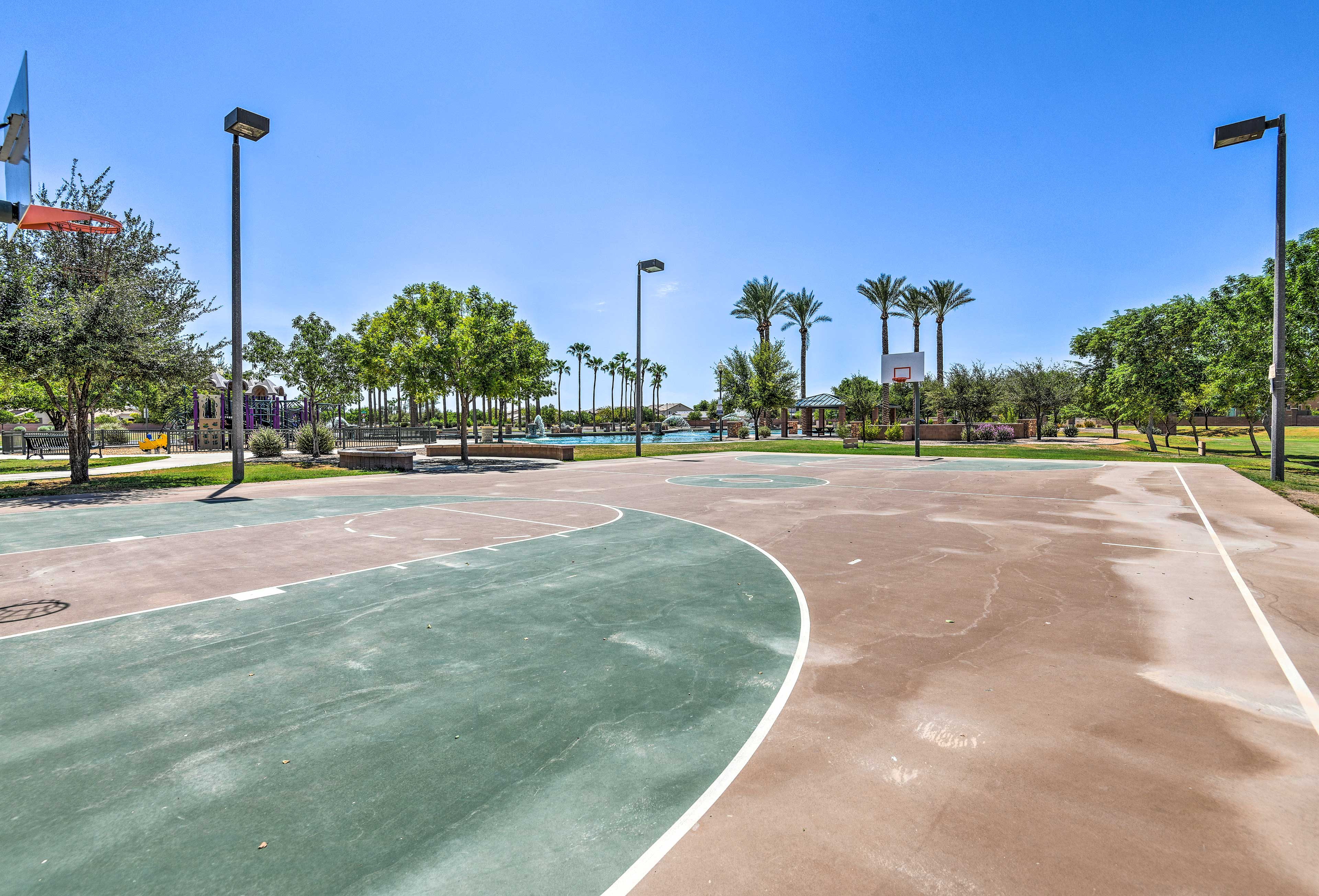 Organize a game of pick-up basketball on the nearby courts!