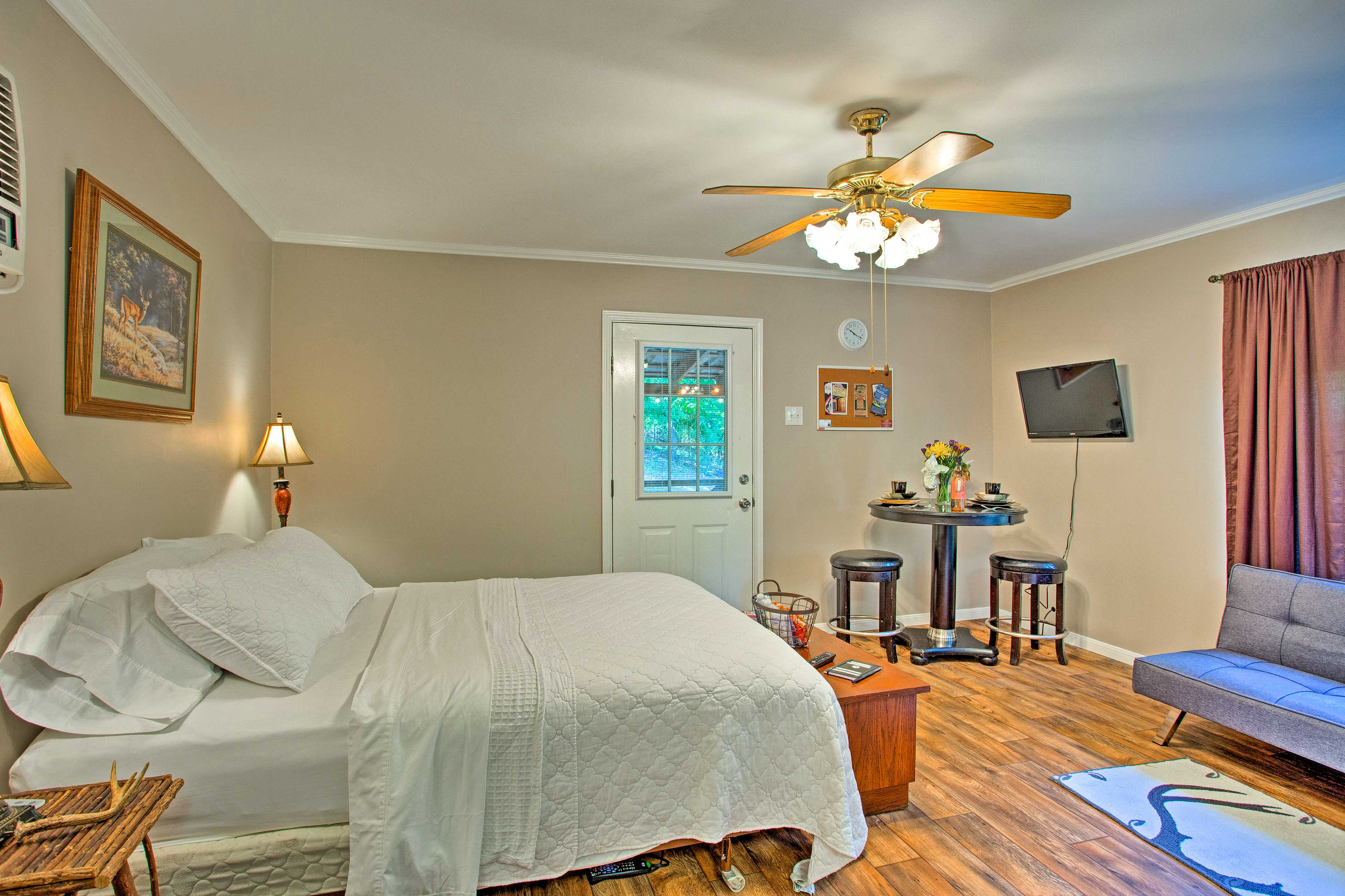 The studio features a comfy full-sized bed.