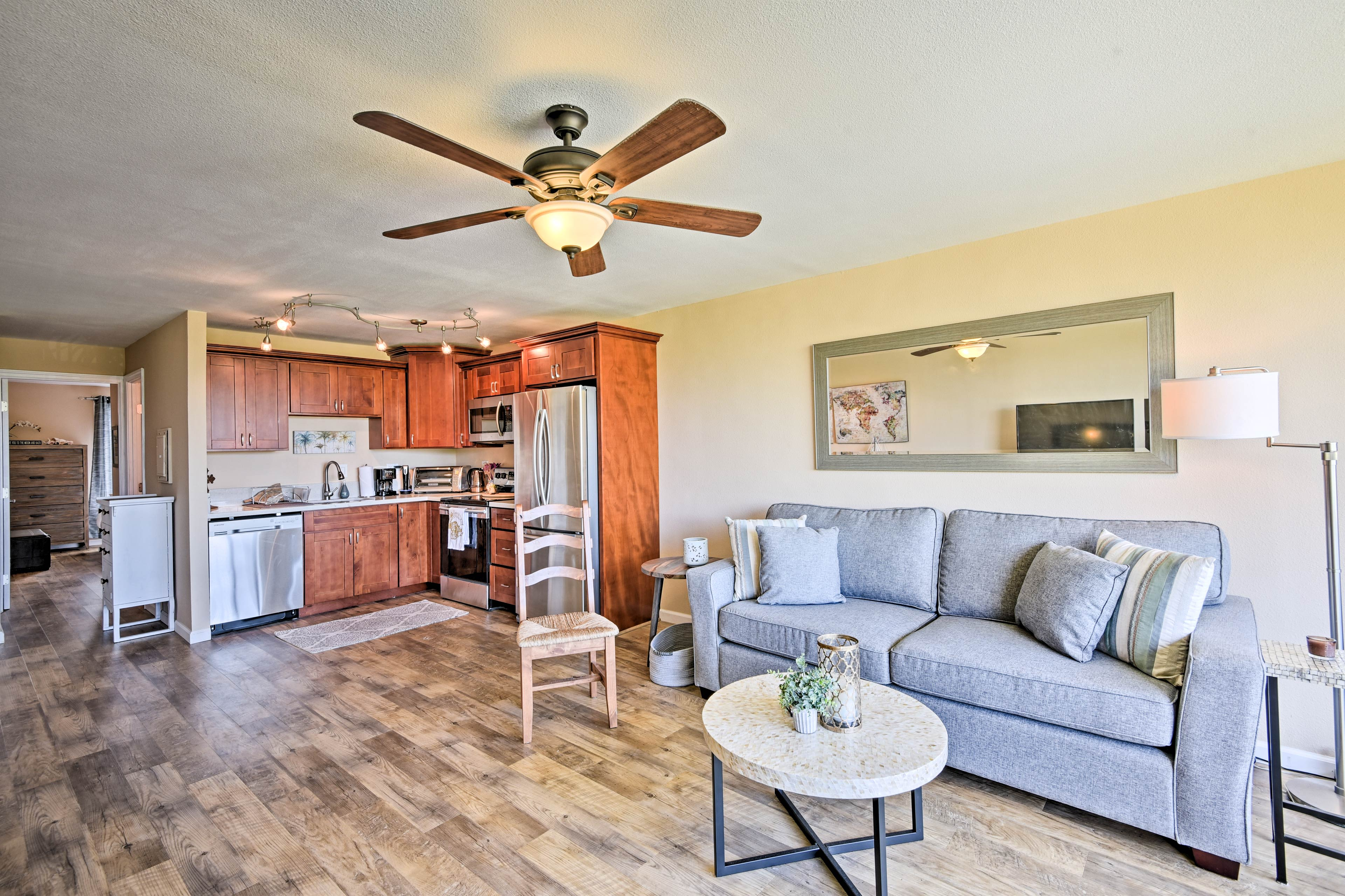 The tastefully appointed interior features 1 bedroom and 1 bathroom.