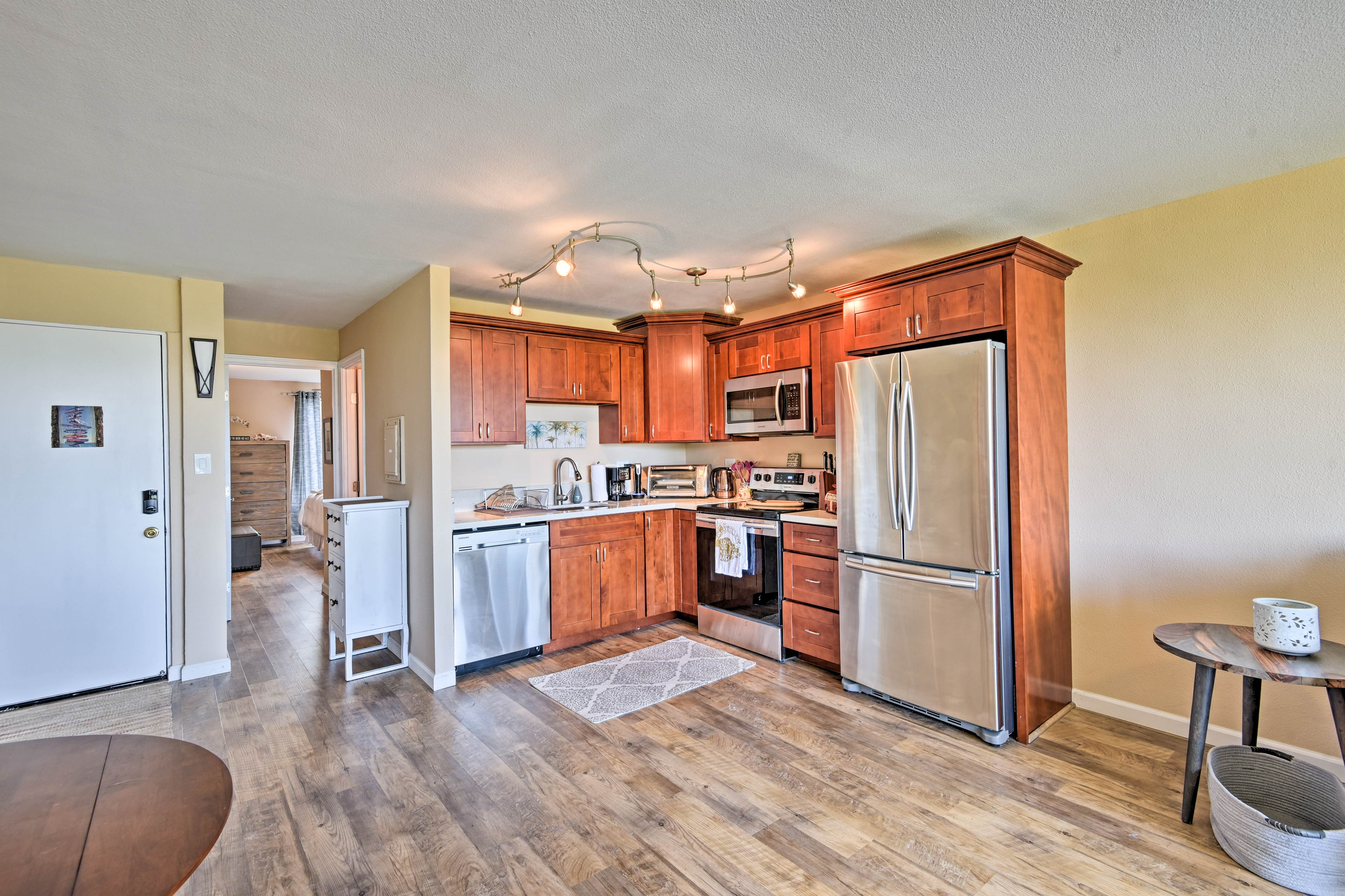 Hardwood floors fill the entire home.