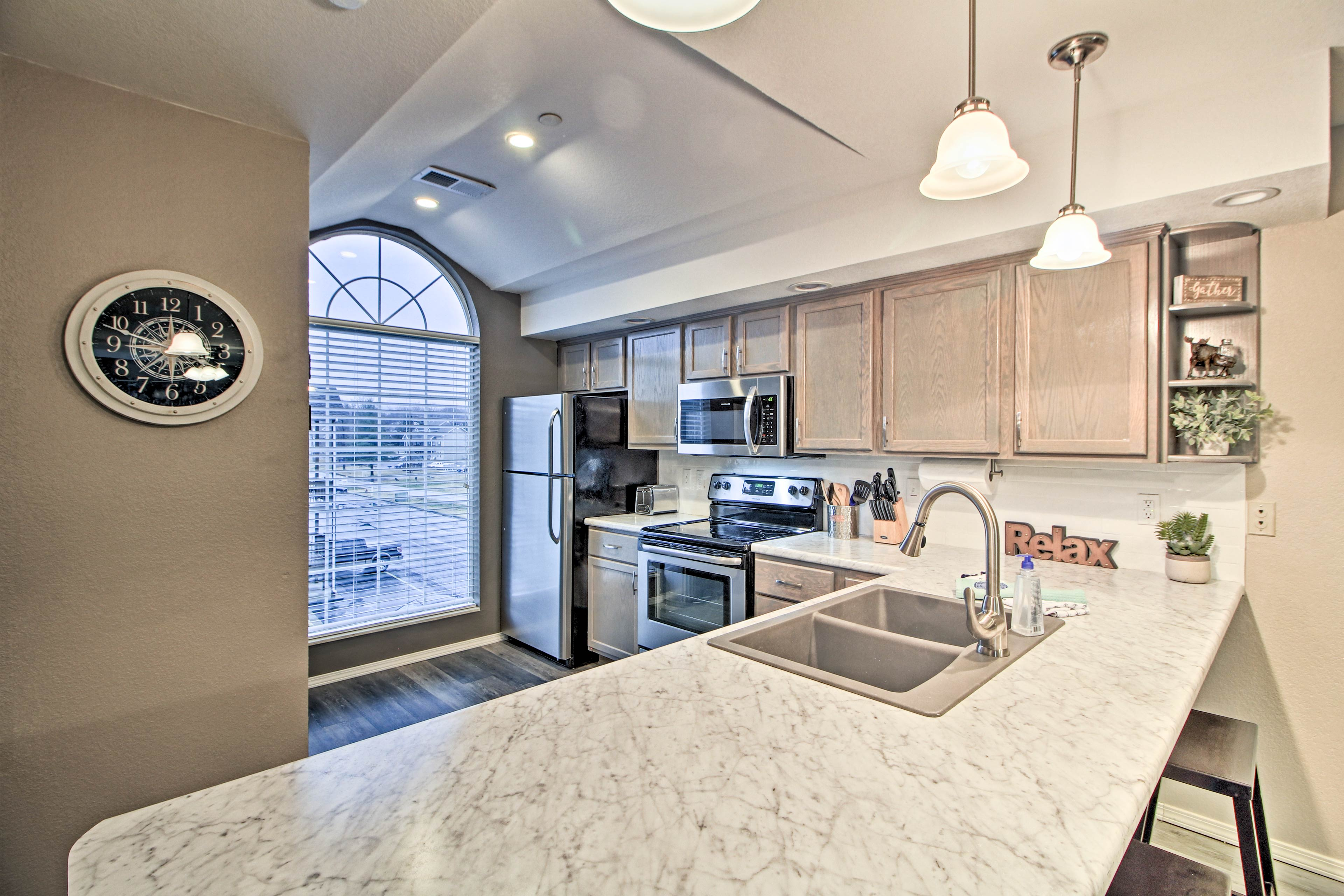 Meal prep will be a breeze on the new granite countertops.