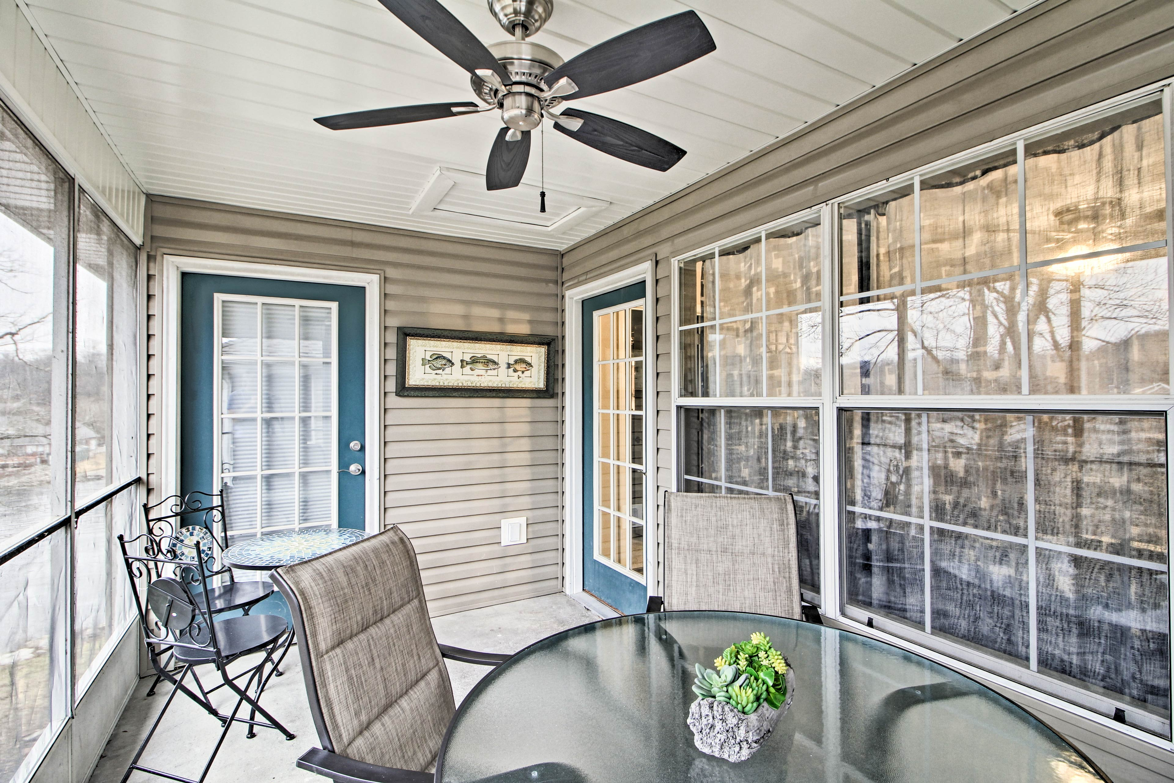 Spend peaceful mornings & relaxing evenings on the screened-in porch.