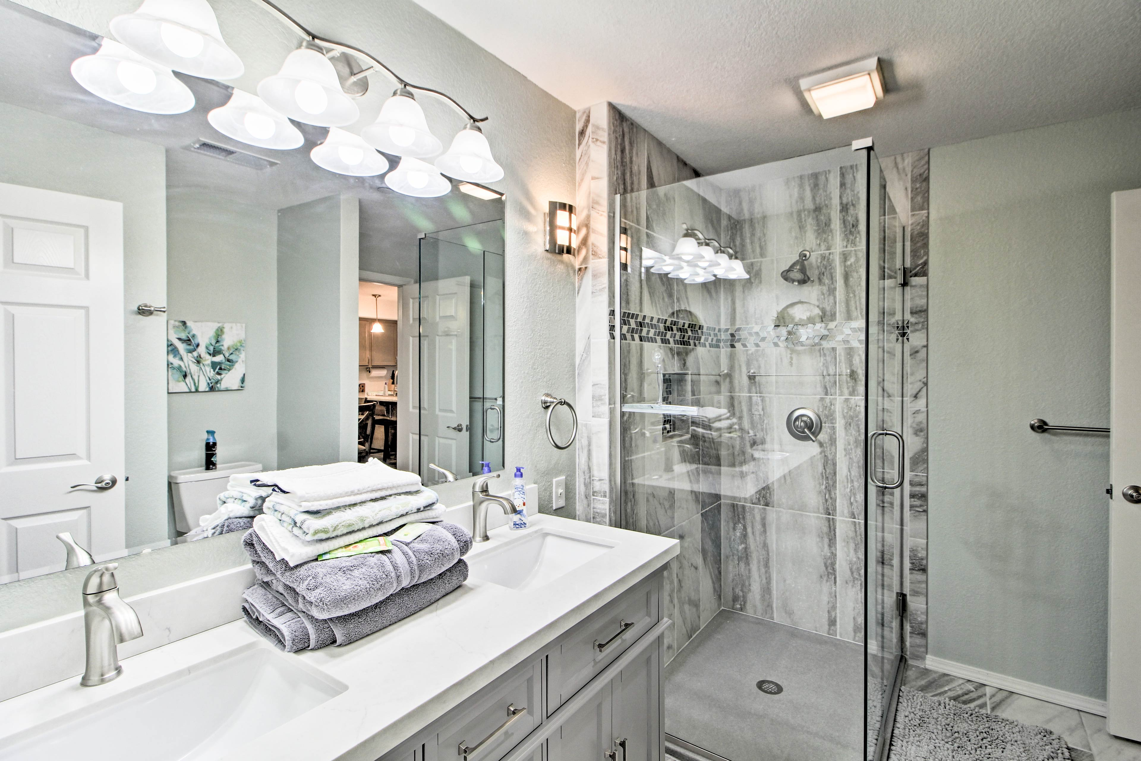 Rinse off the lake water & sunscreen in the lavish walk-in shower.