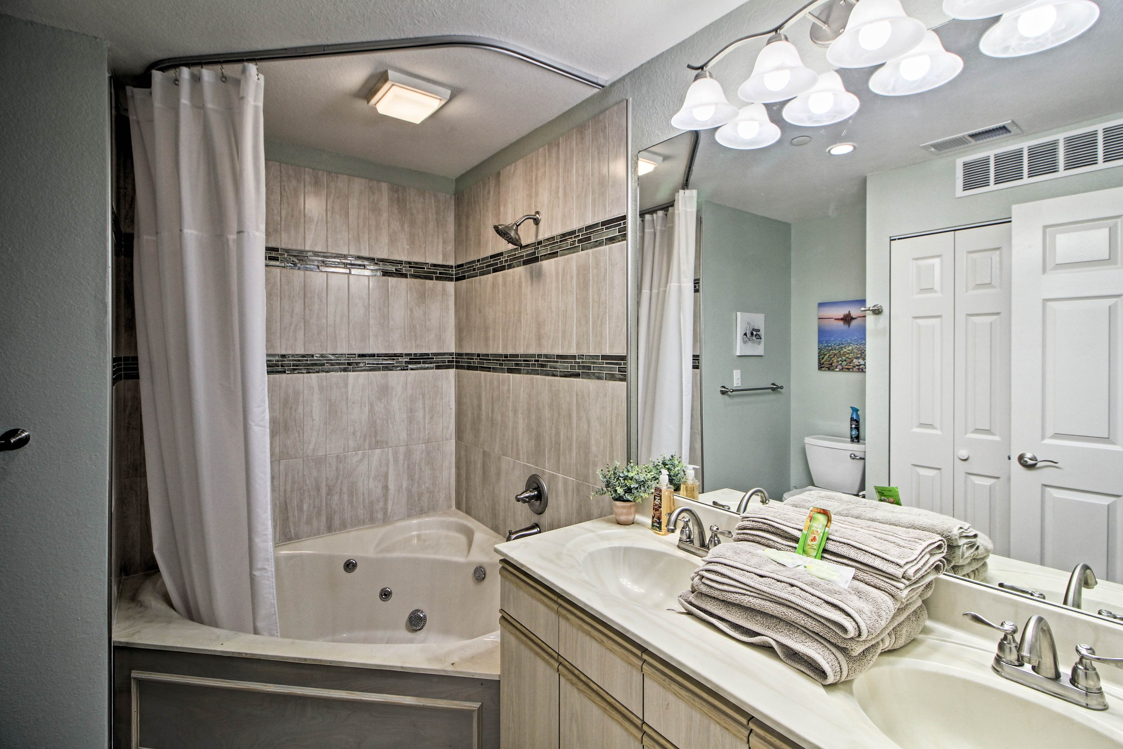 The second full bathroom is equipped with a luxurious shower/tub combo!