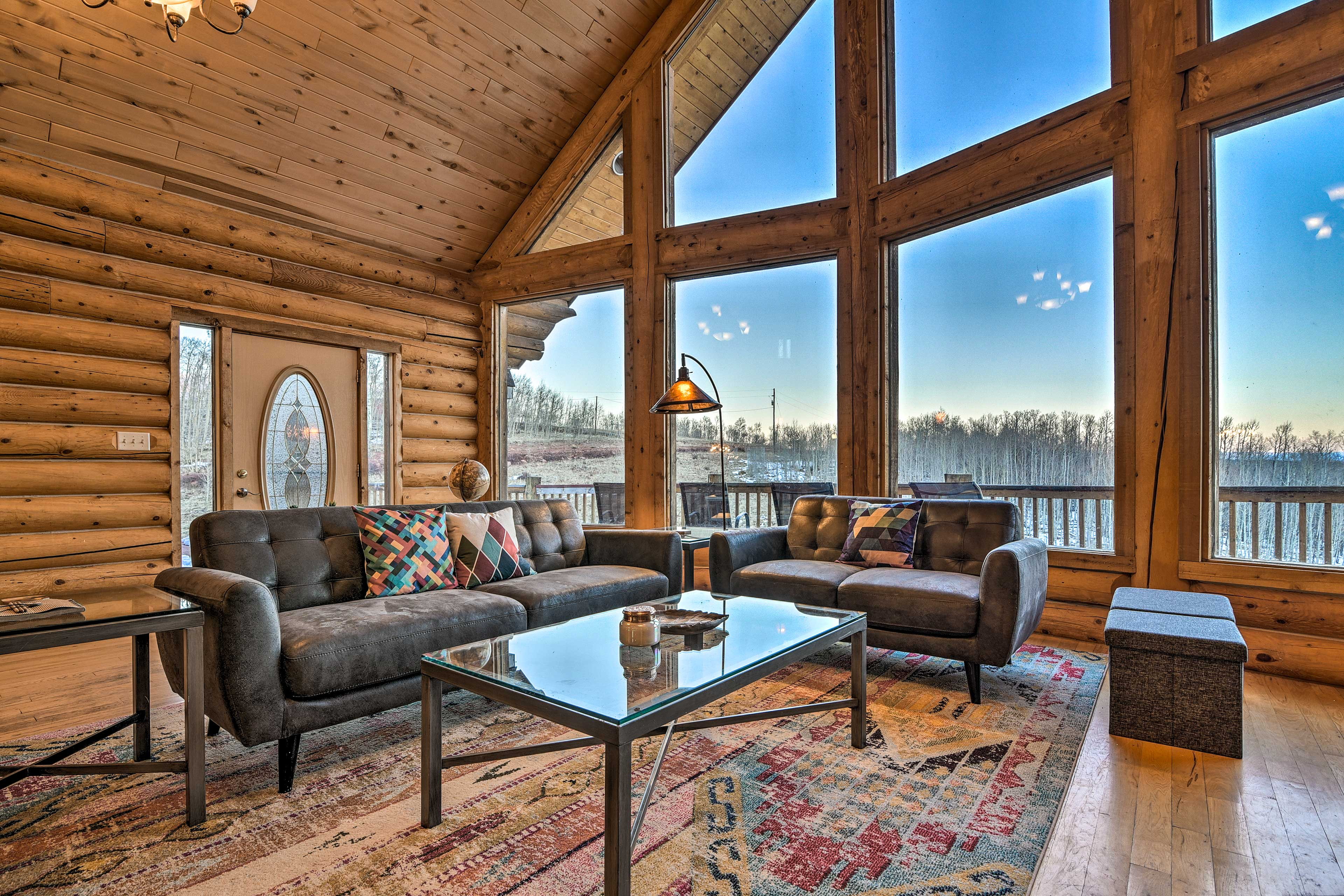 Enjoy immaculate views through the wall of windows.