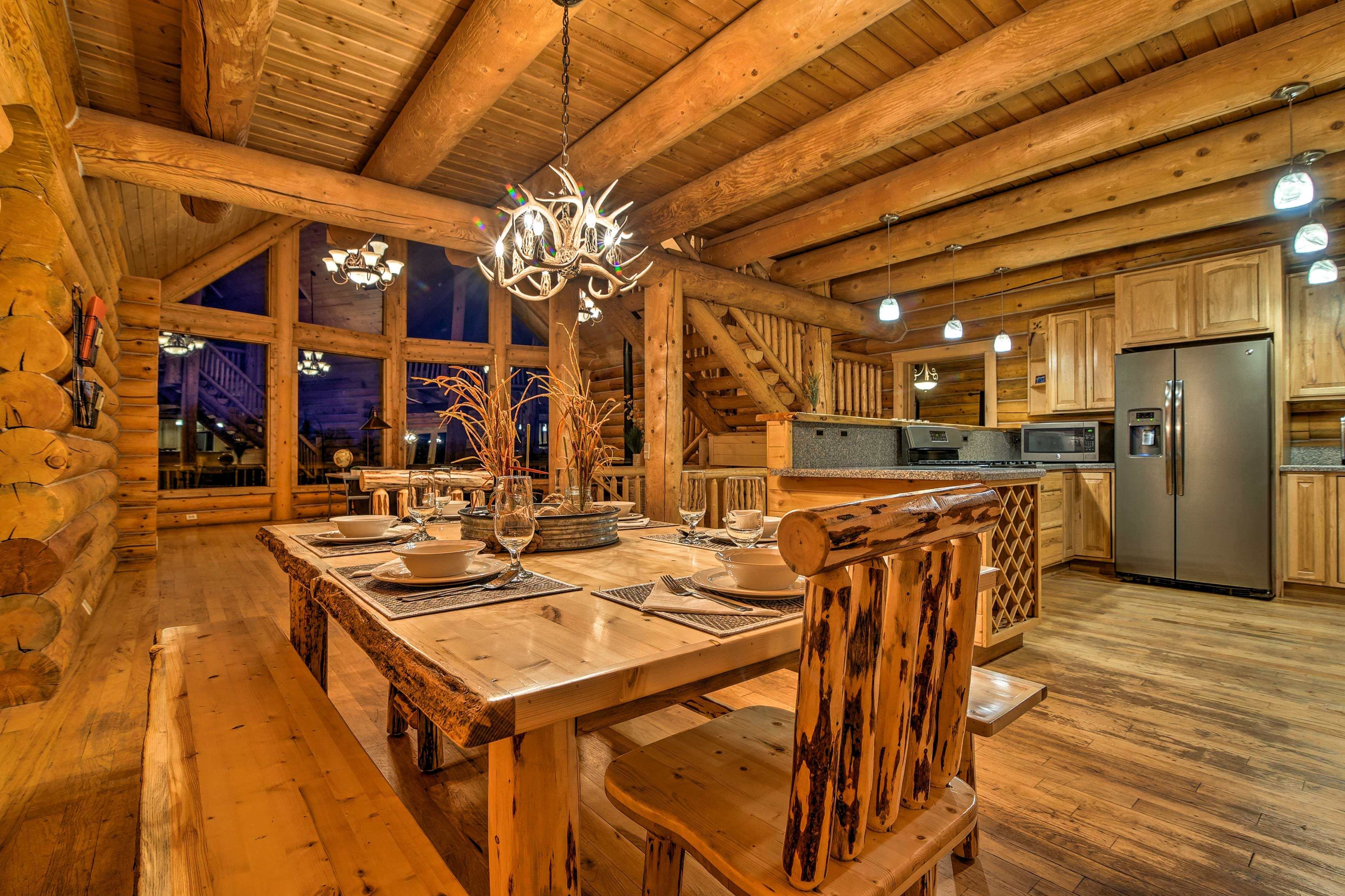 Gather your group for a family dinner around the stunning dining table.