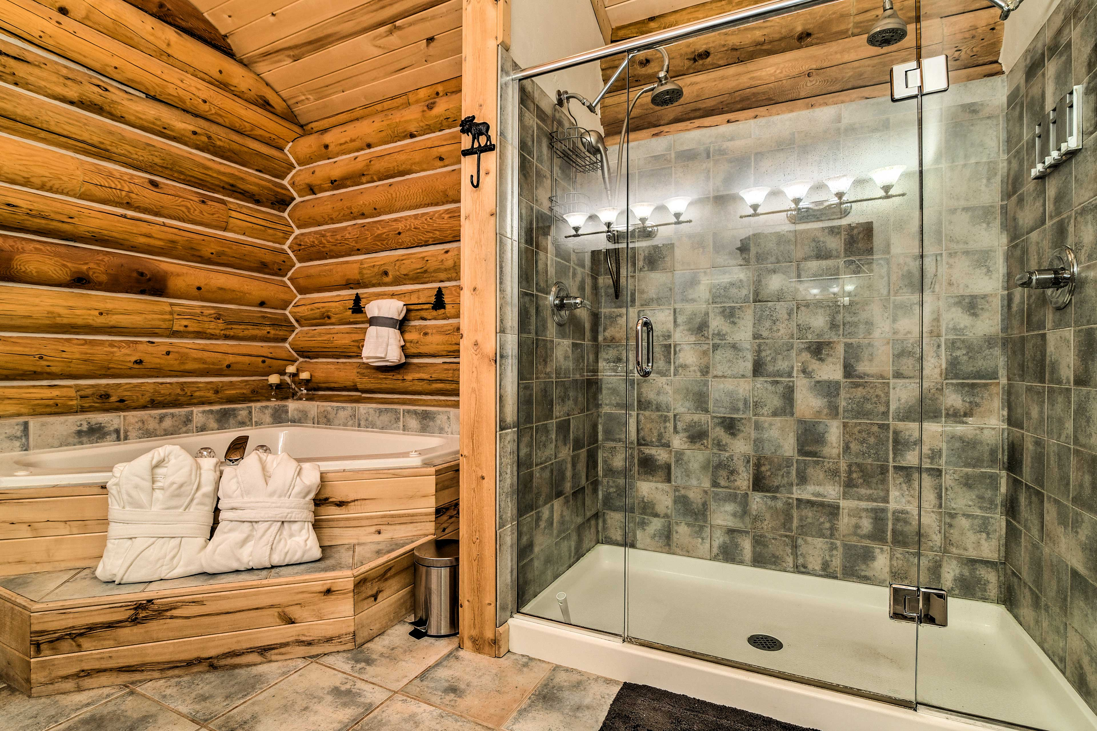 Rinse off in the jetted tub and double head walk-in shower.