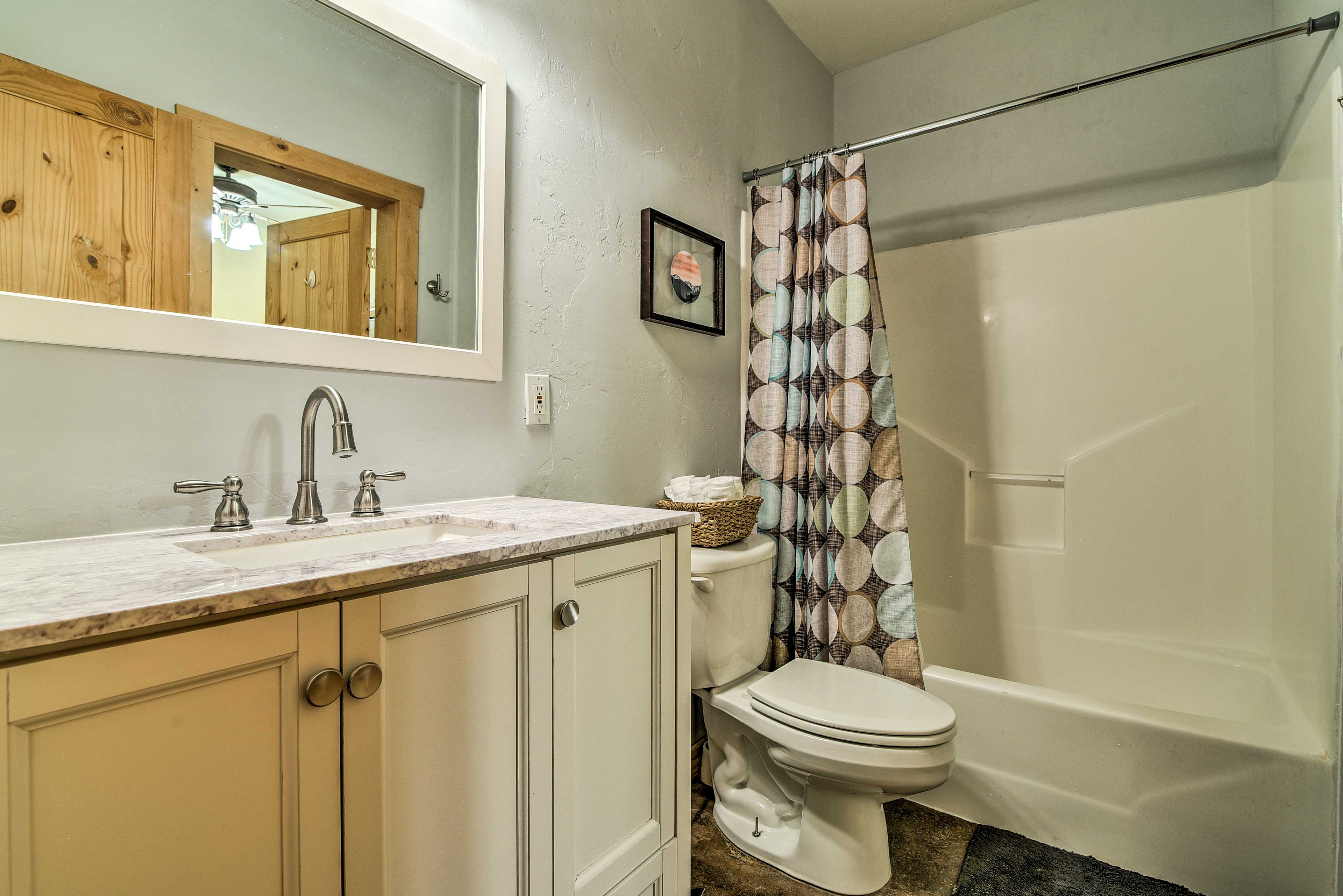 Wash up in the downstairs bathroom before another adventure-filled day!
