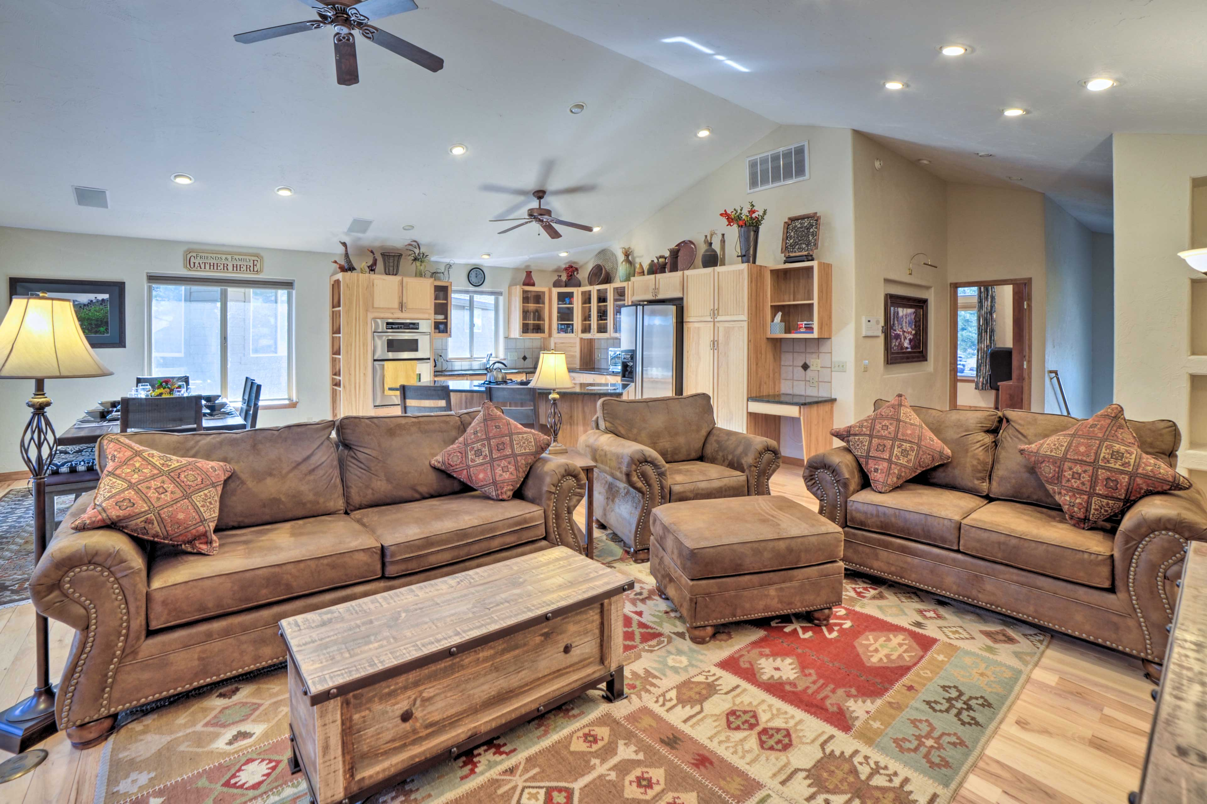 The open floor plan and vaulted ceilings make the condo feel even larger!