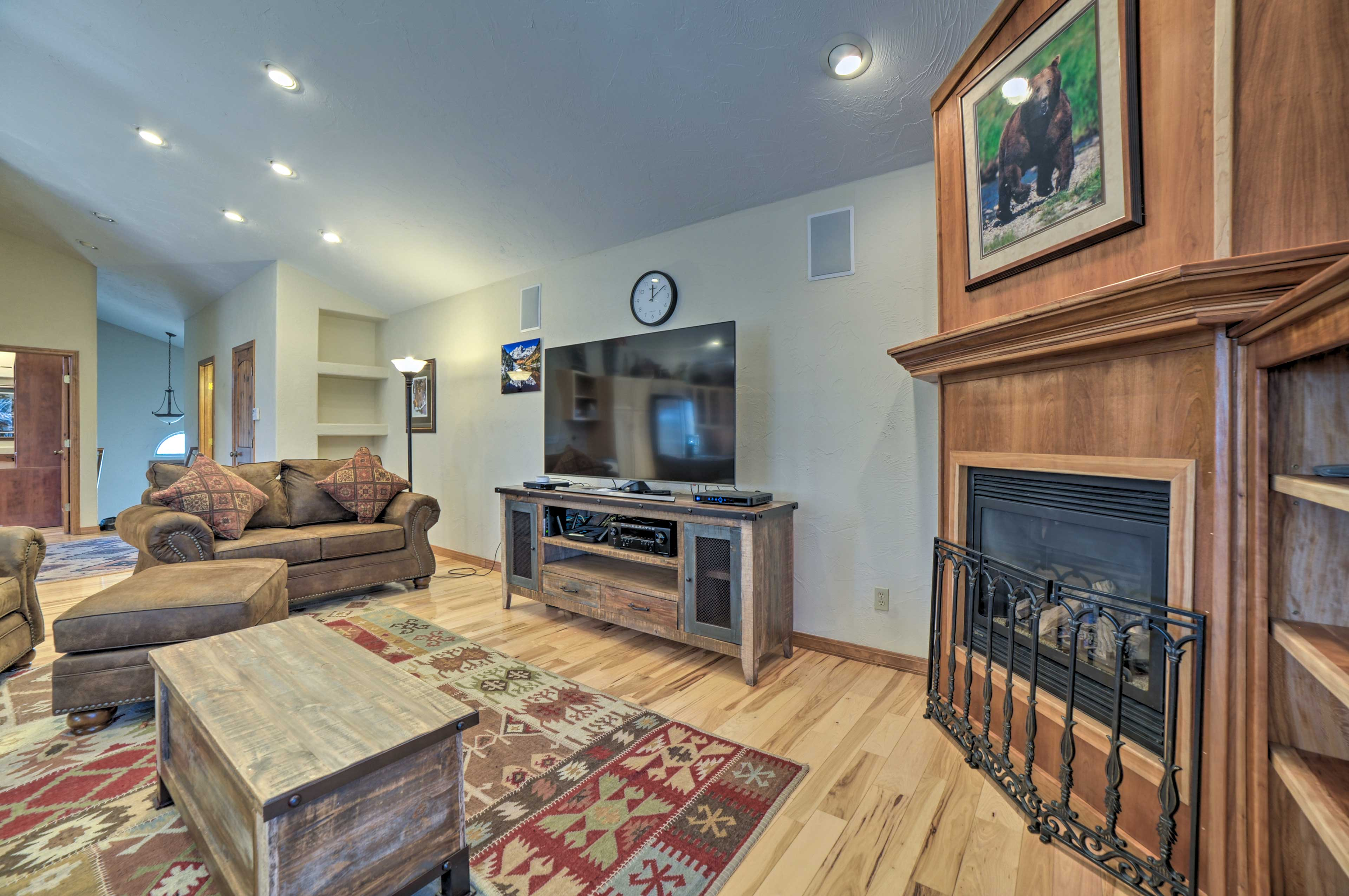 Light the gas fireplace and watch a show on the flat-screen DIRECTV.