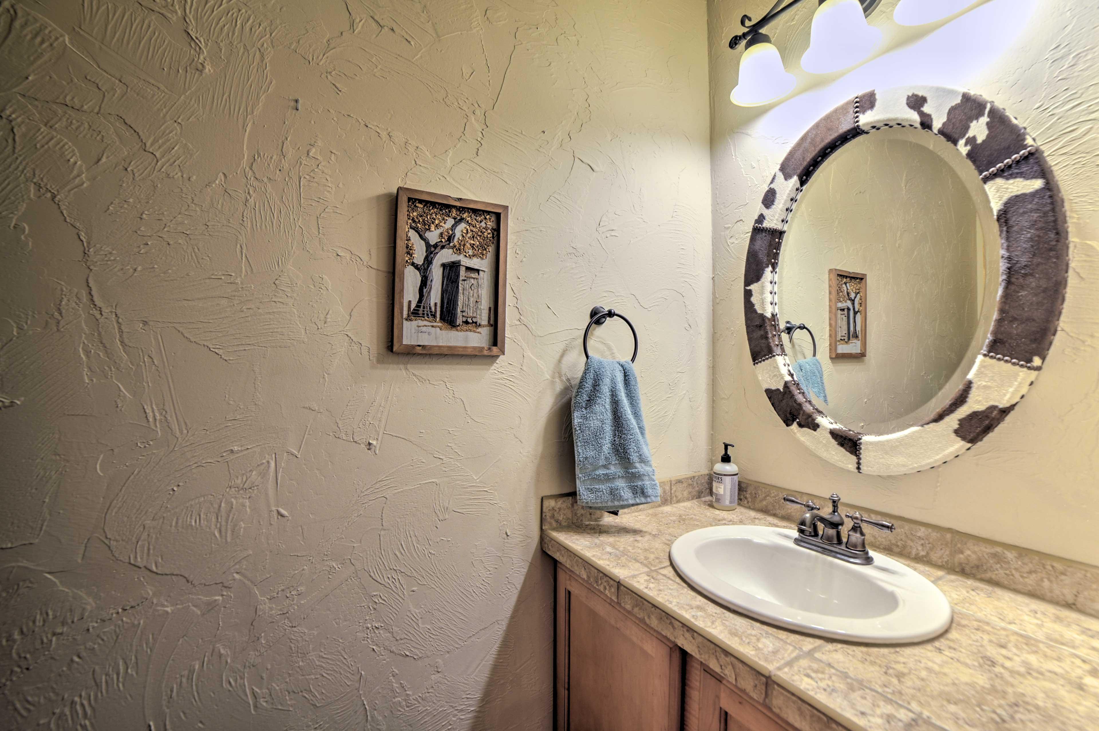 Rinse up in the half bathroom.