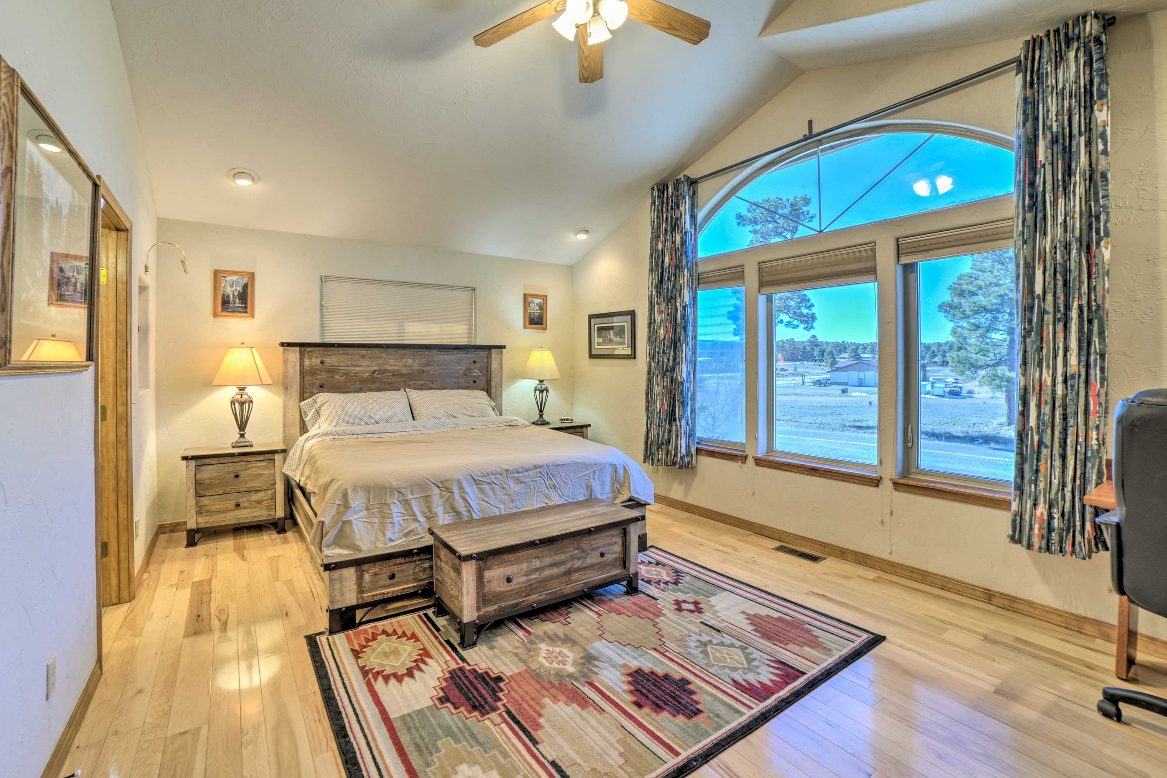 The master bedroom has a king-sized bed.