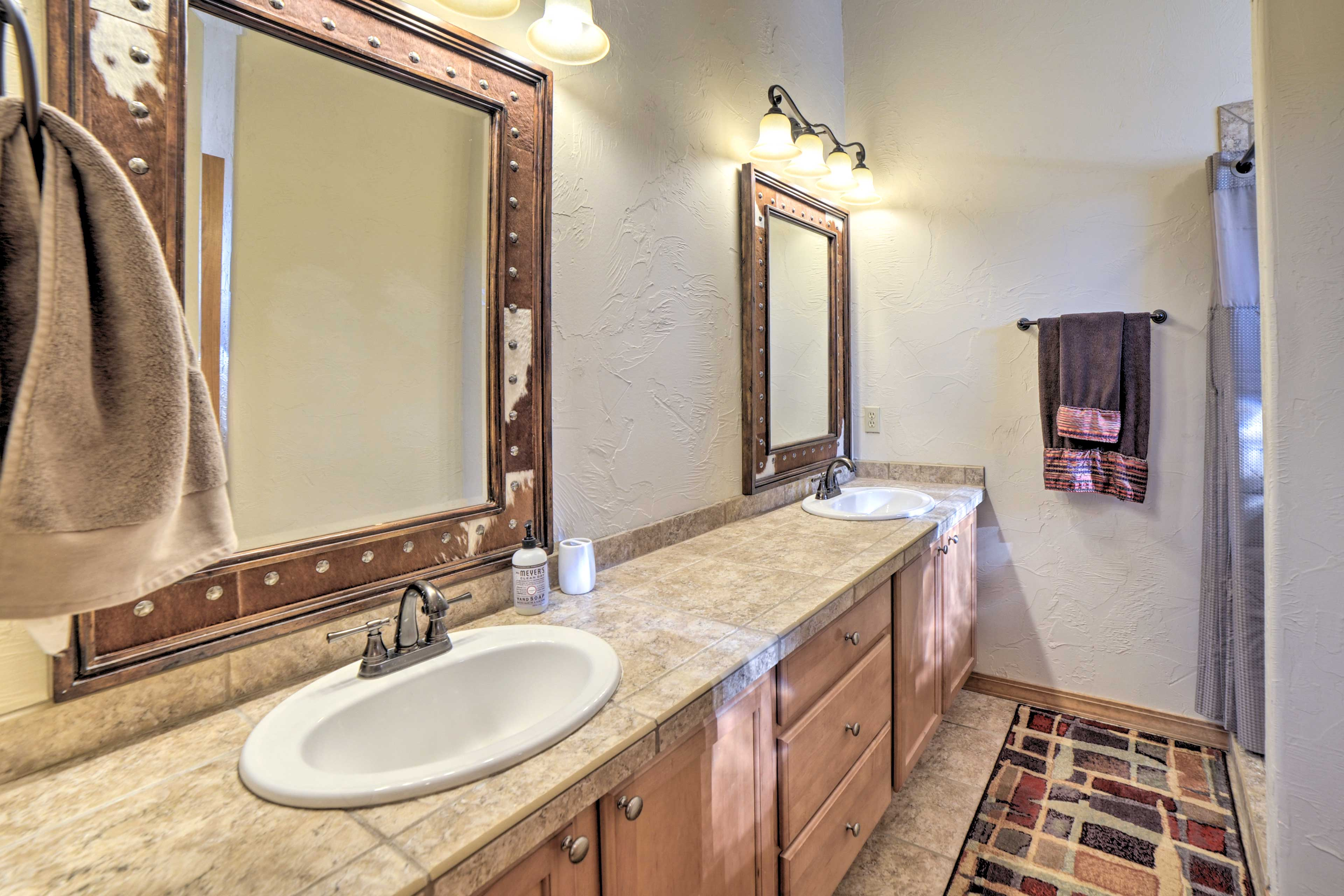 The double sinks and large vanity are great for couples getting ready.