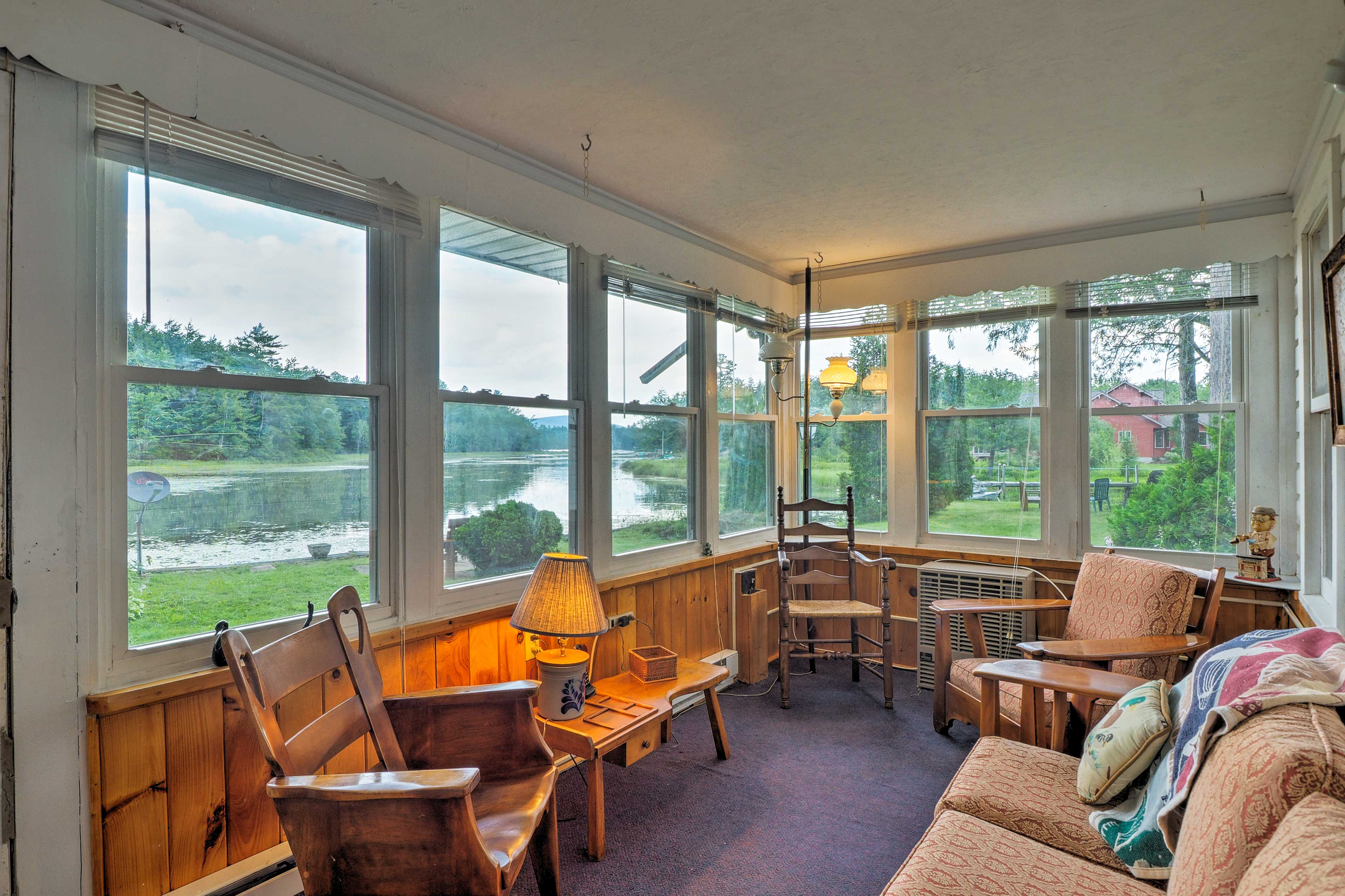 The porch is completely enclosed and has fantastic lake views.