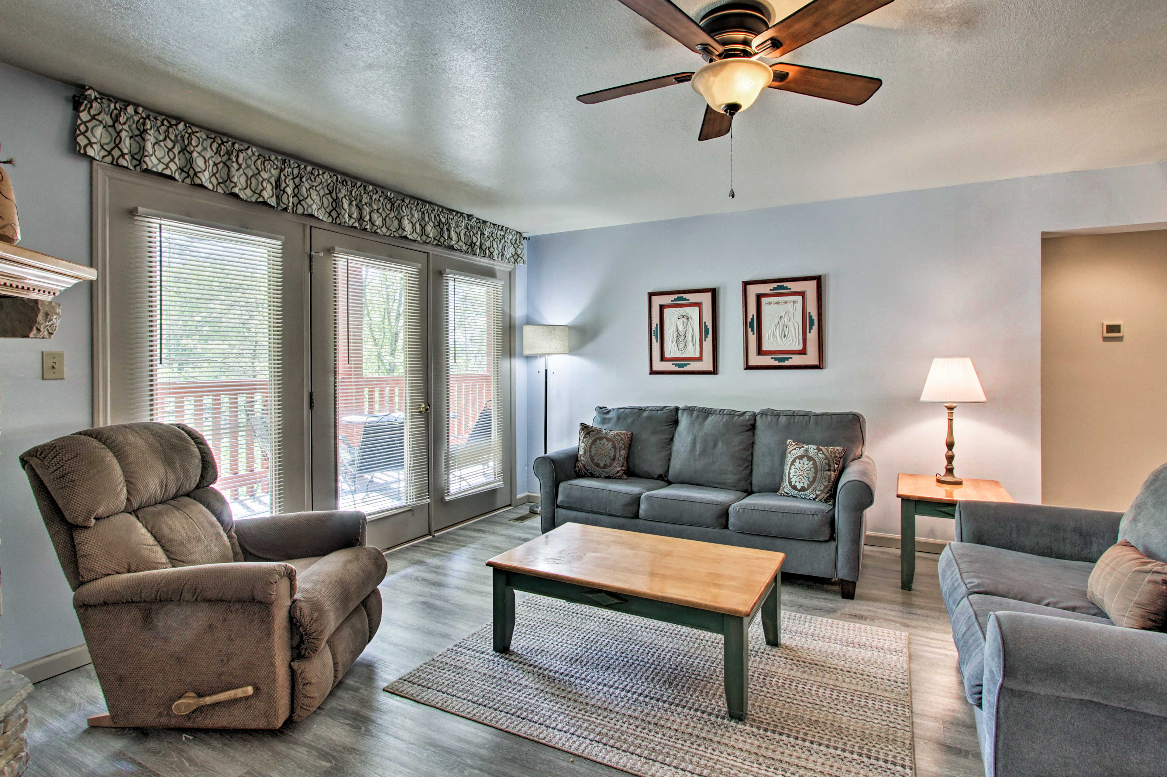 Claim a spot on the comfortable sofa or love seat.