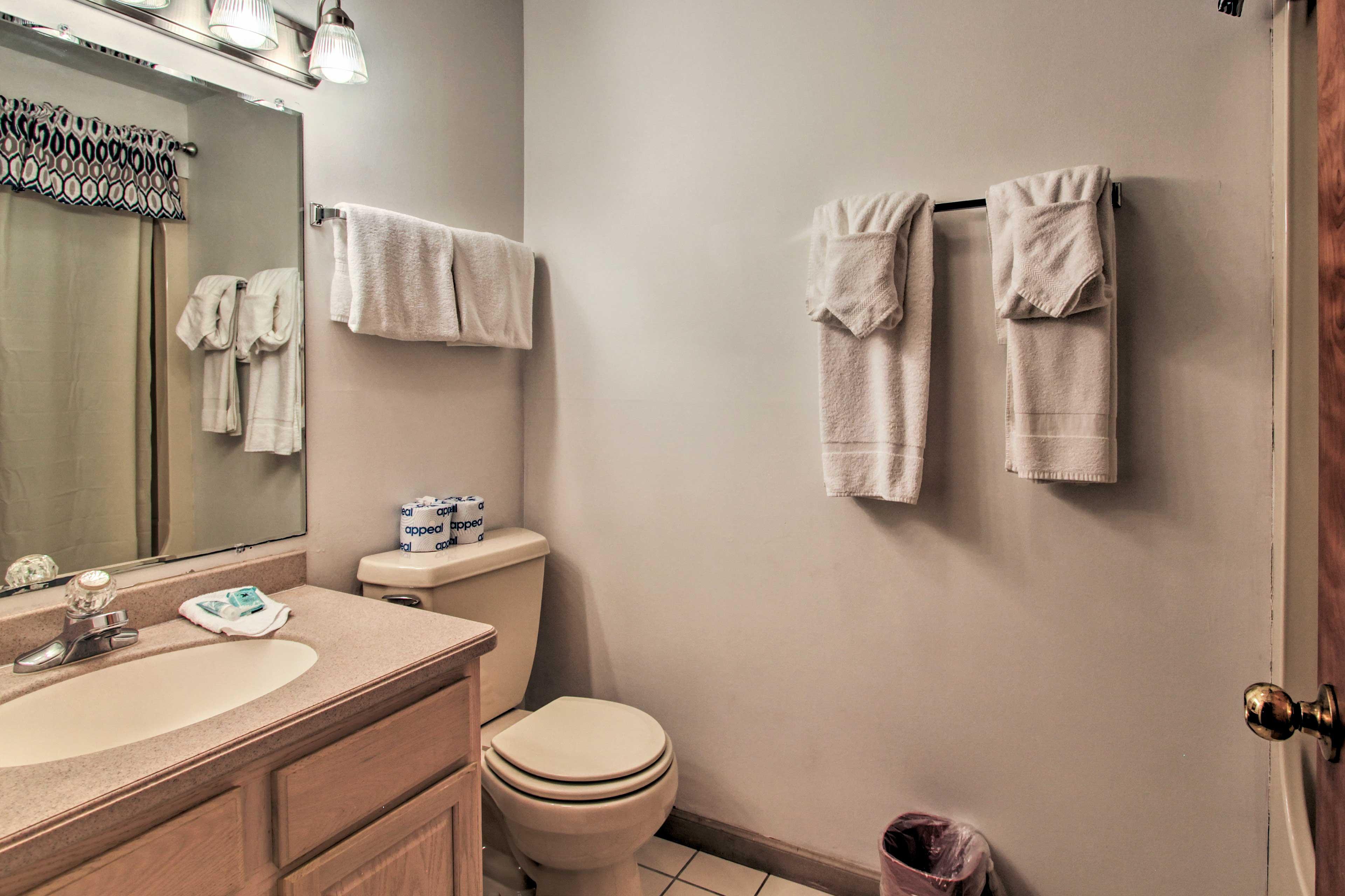 Wash up in the convenient half bathroom!