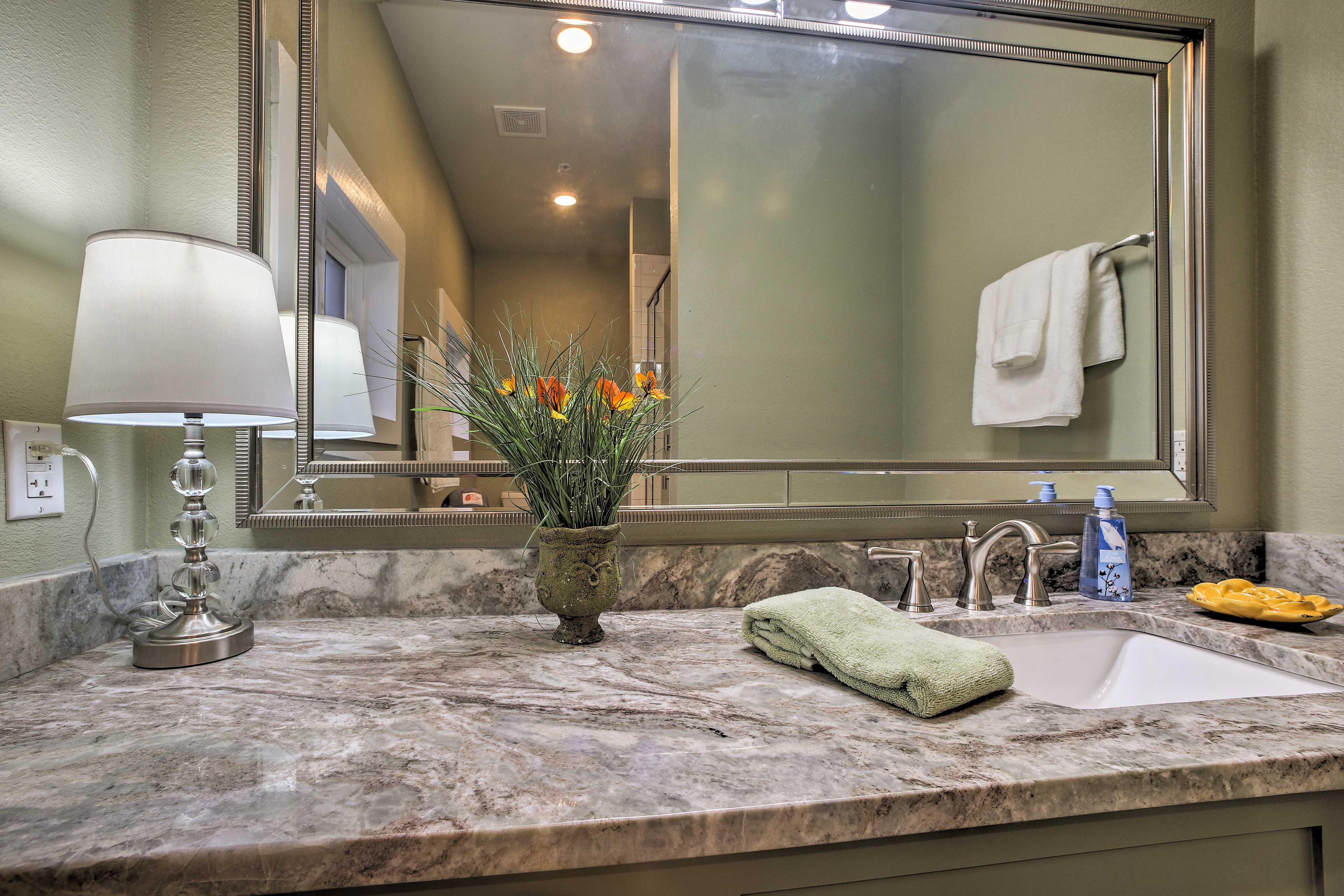 Rinse off the day in the luxurious bathroom.