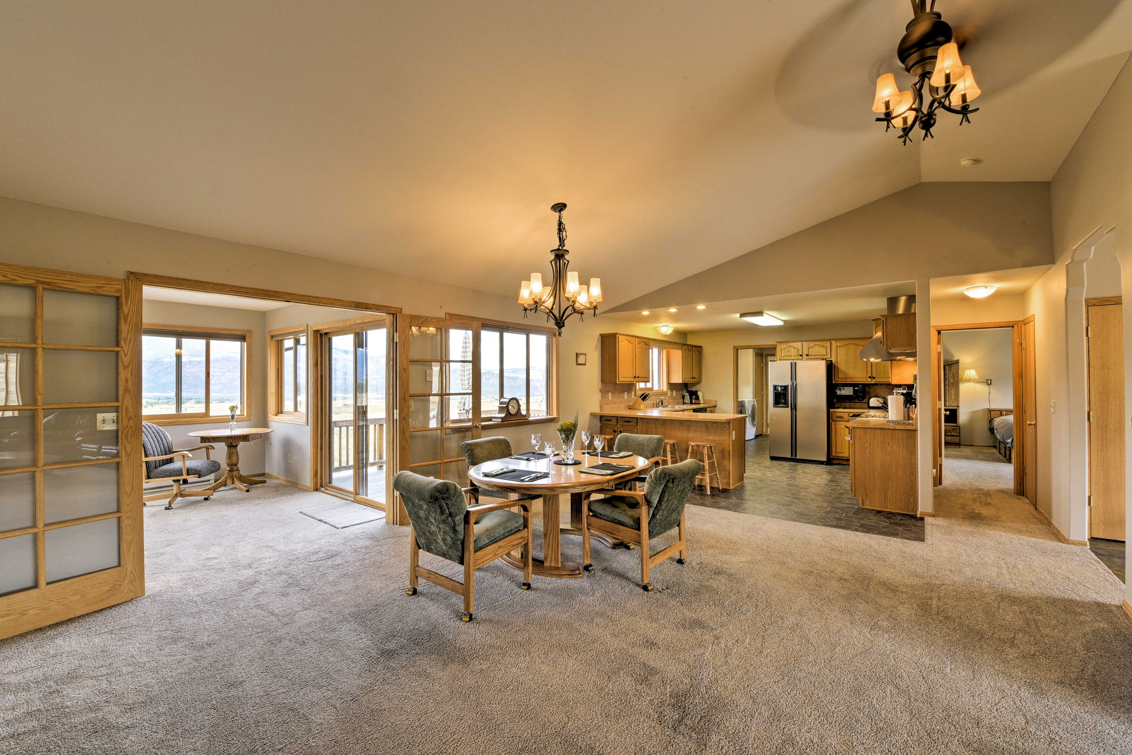 French doors lead you from the great room to the sunroom.