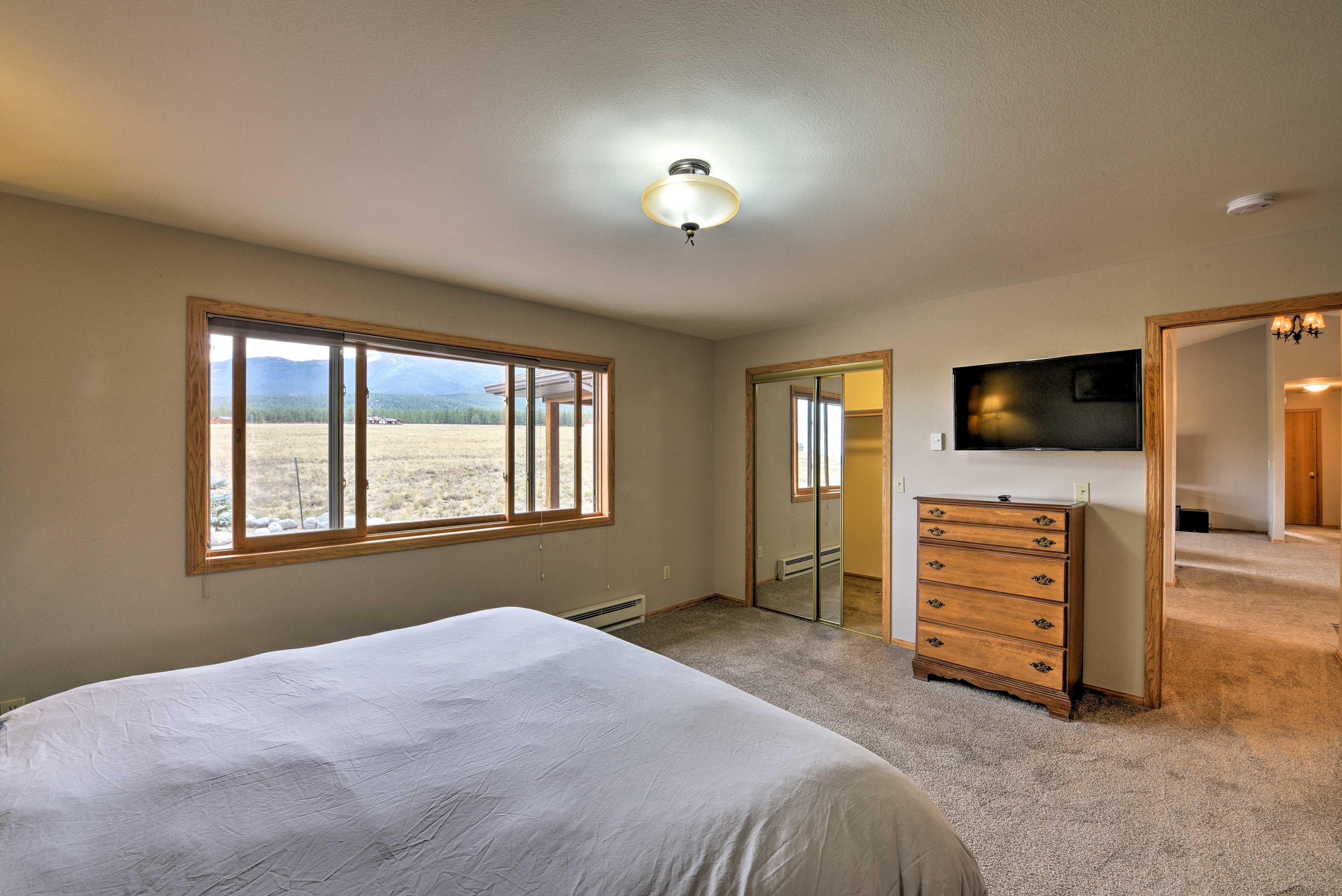 The master bedroom boasts unrivalaved views of Mt. Princeton.