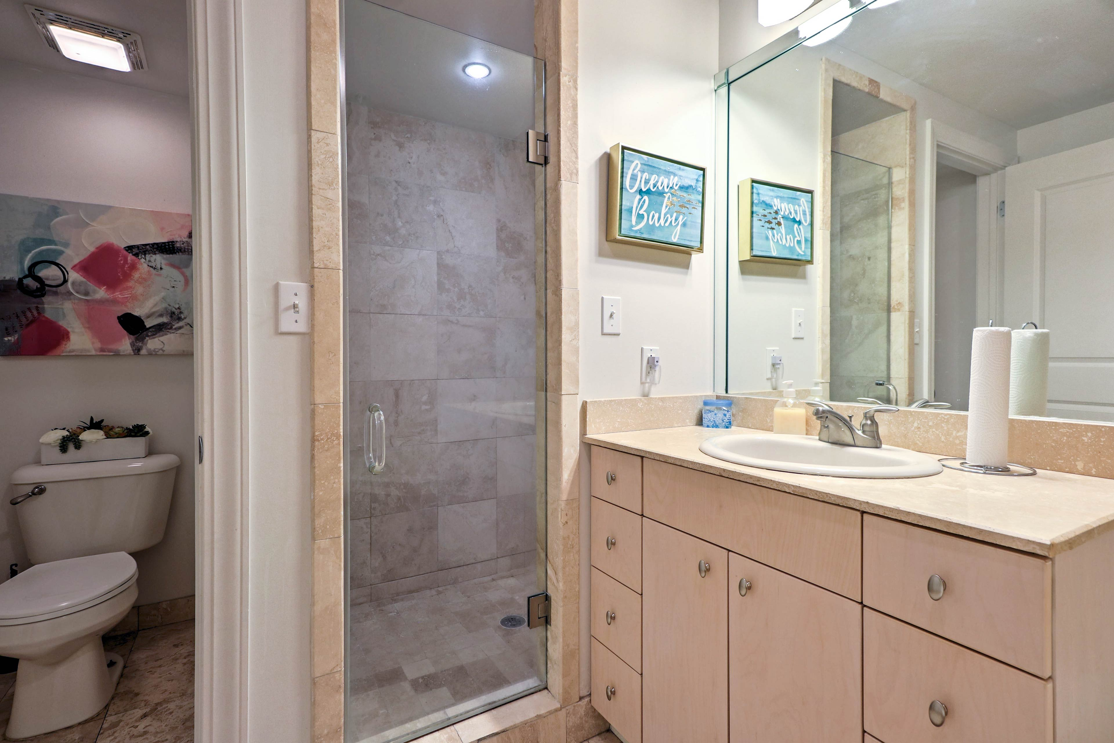 Wash away the day in the walk-in shower.