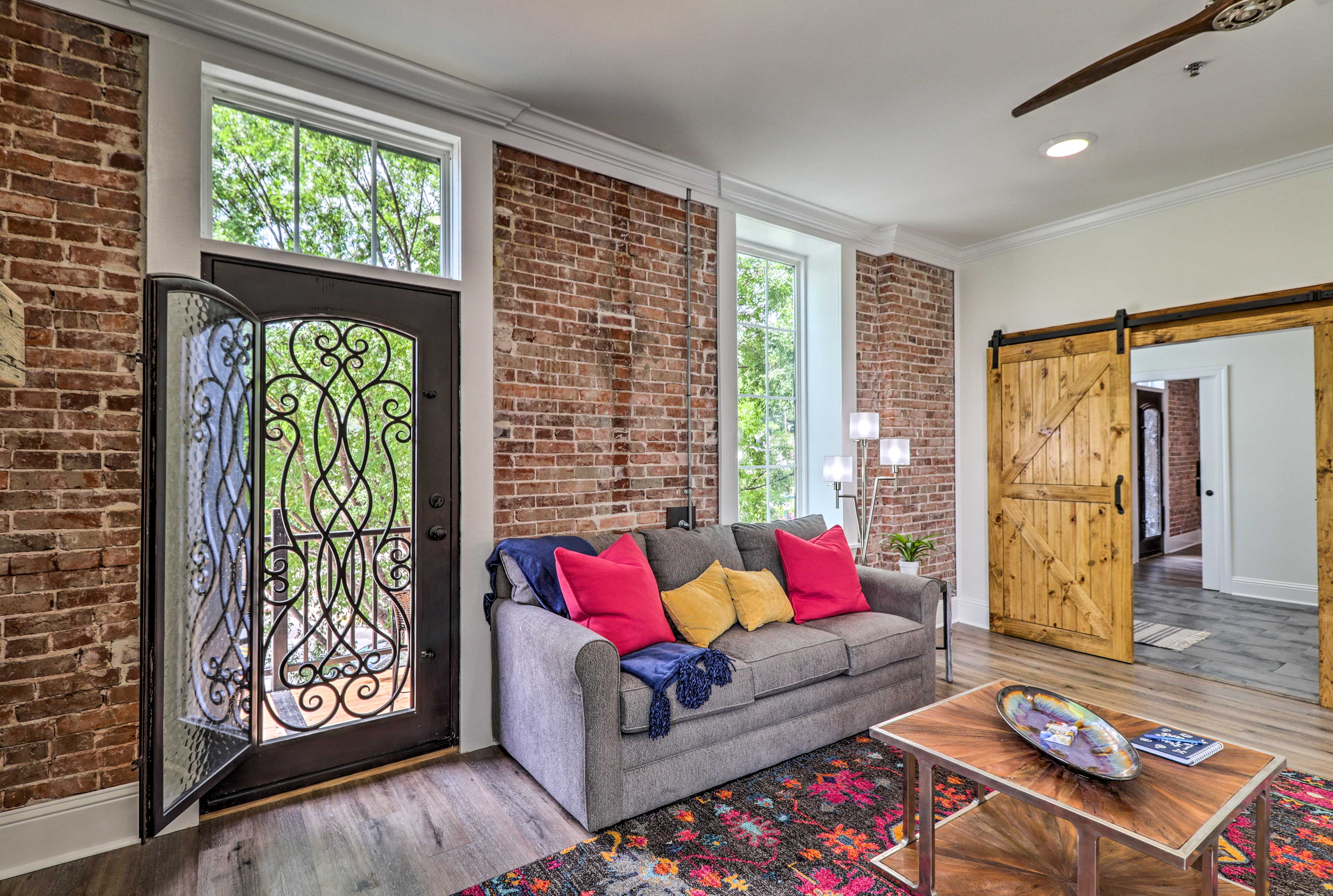 This unique loft is the only unit on Central Avenue with balconies.